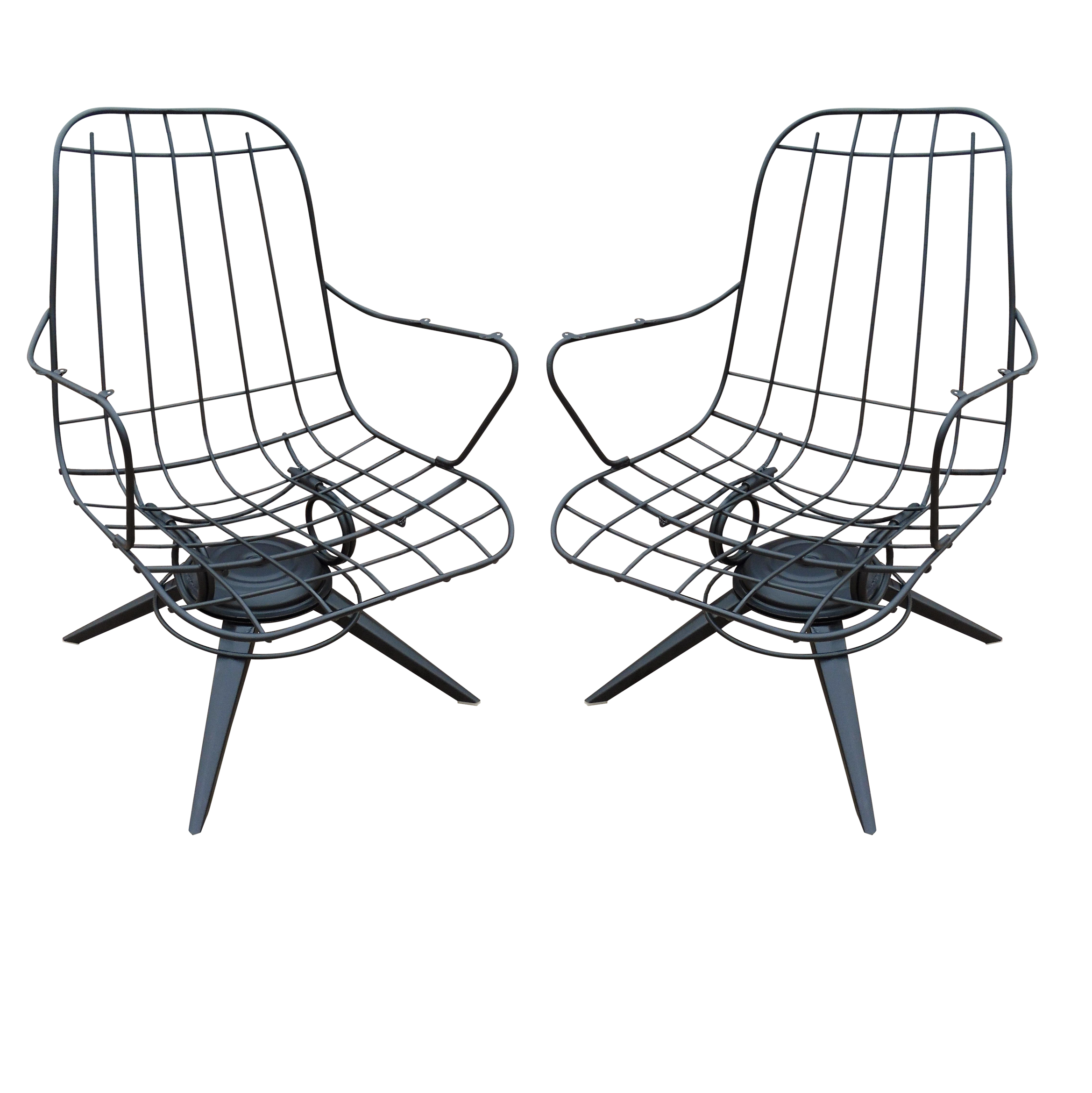 Homecrest Mid Century Wire Lounge Chairs A Pair