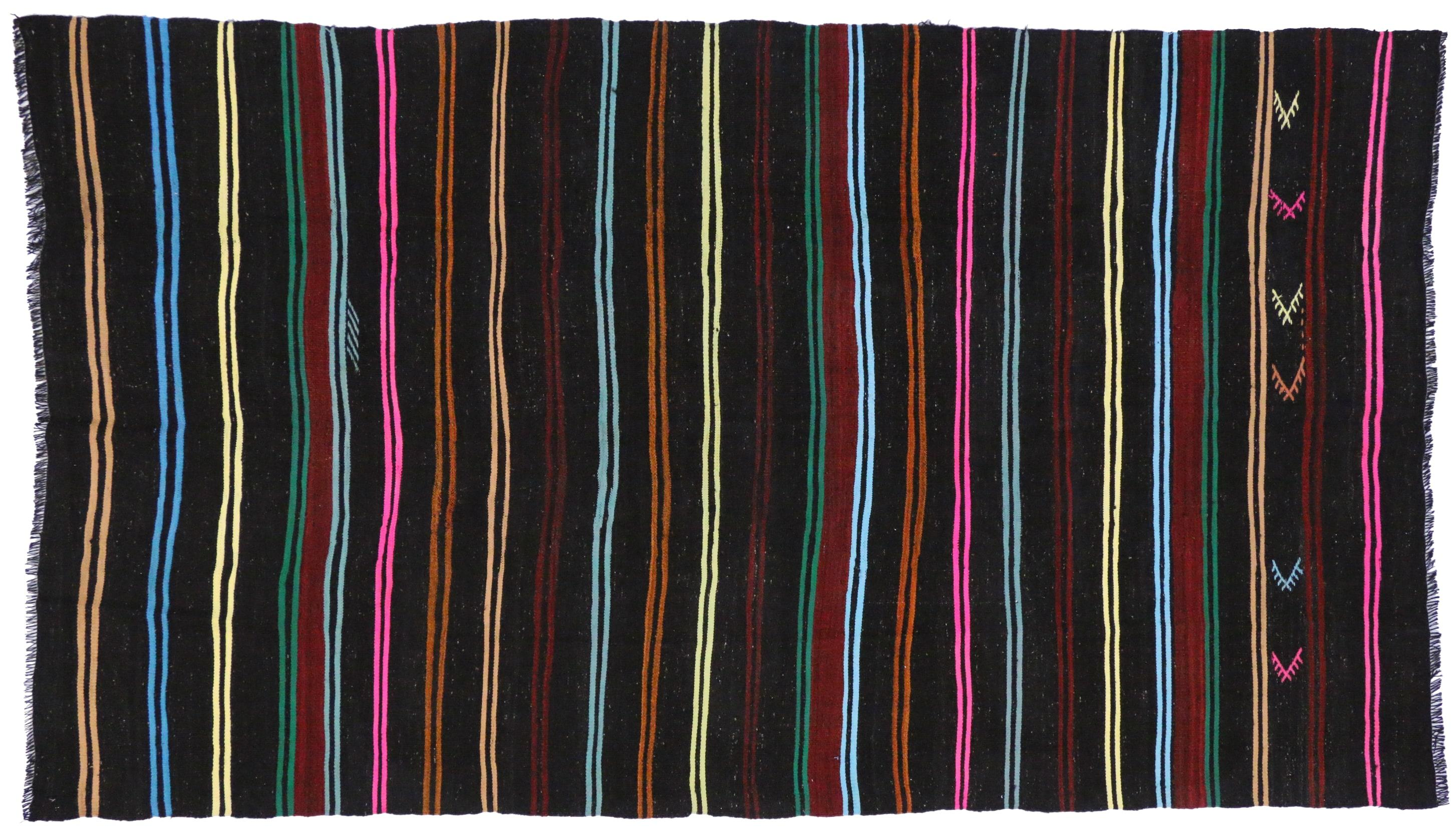 Boho Chic Vintage Turkish Kilim With Stripes And Modern