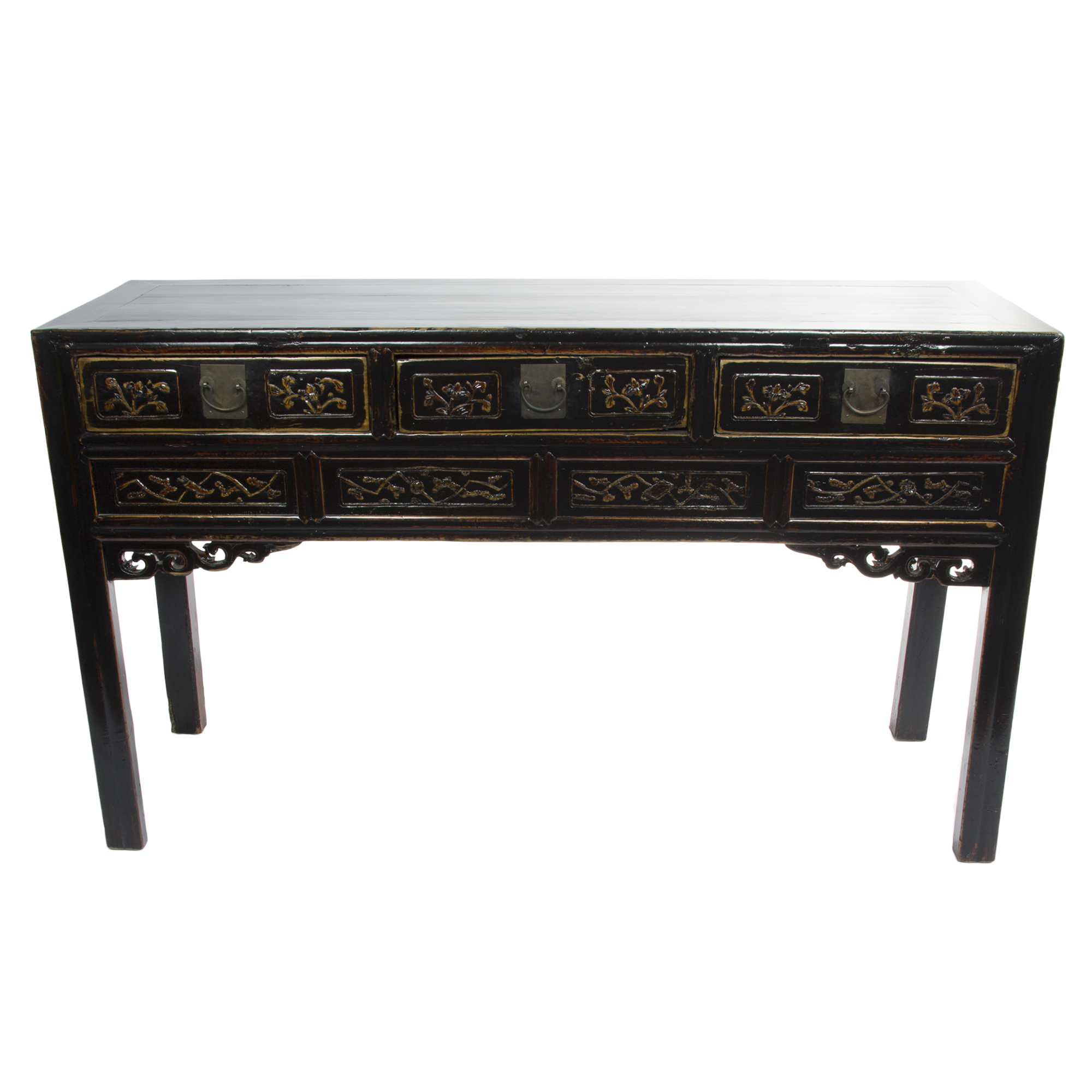 chinese writing desk Antique chinese writing desk three-part desk (top unit and two pedestals) in a dark brown finish with domed wooden pulls nine drawers overall for generous storage.