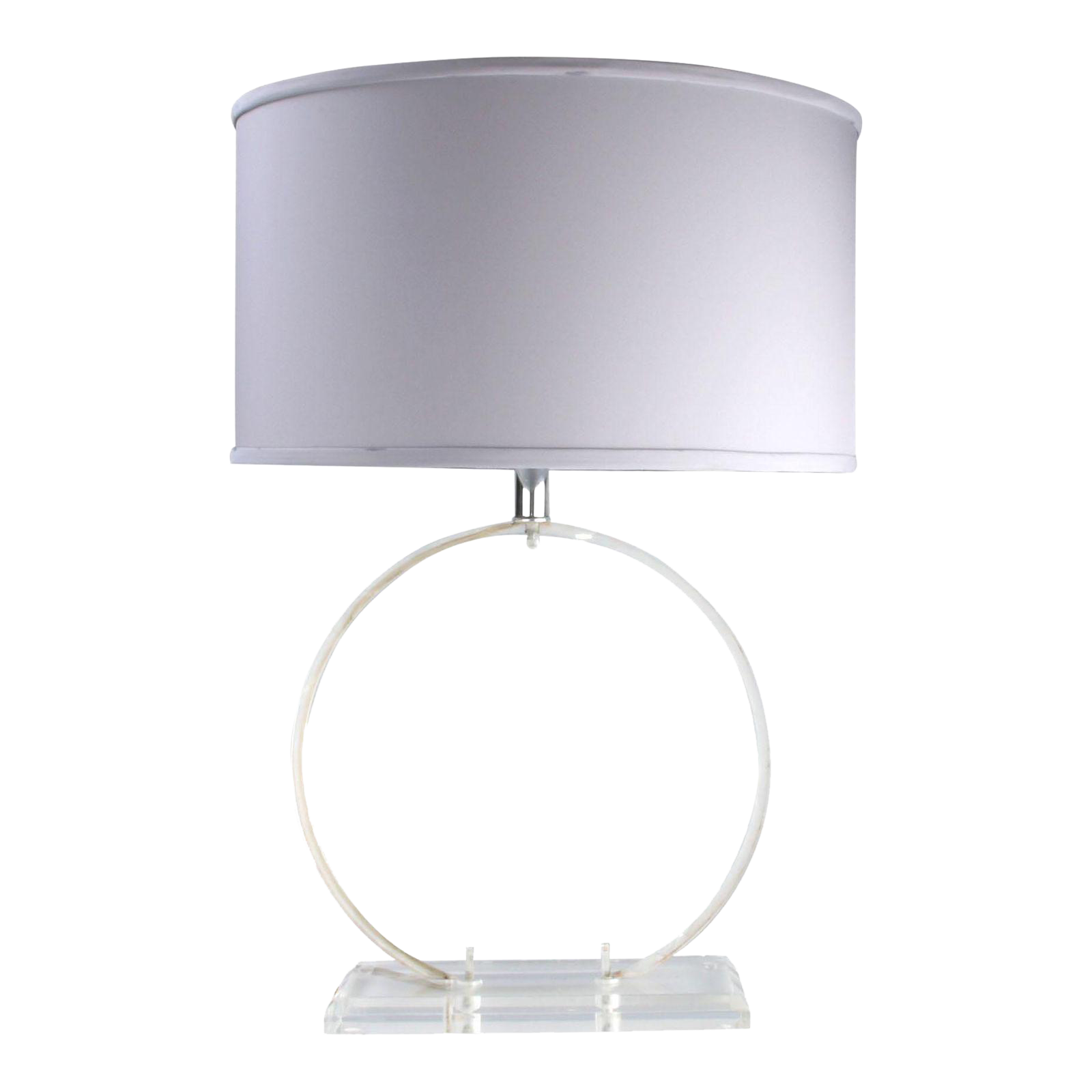 1970 Round Clear Lucite Table Lamp