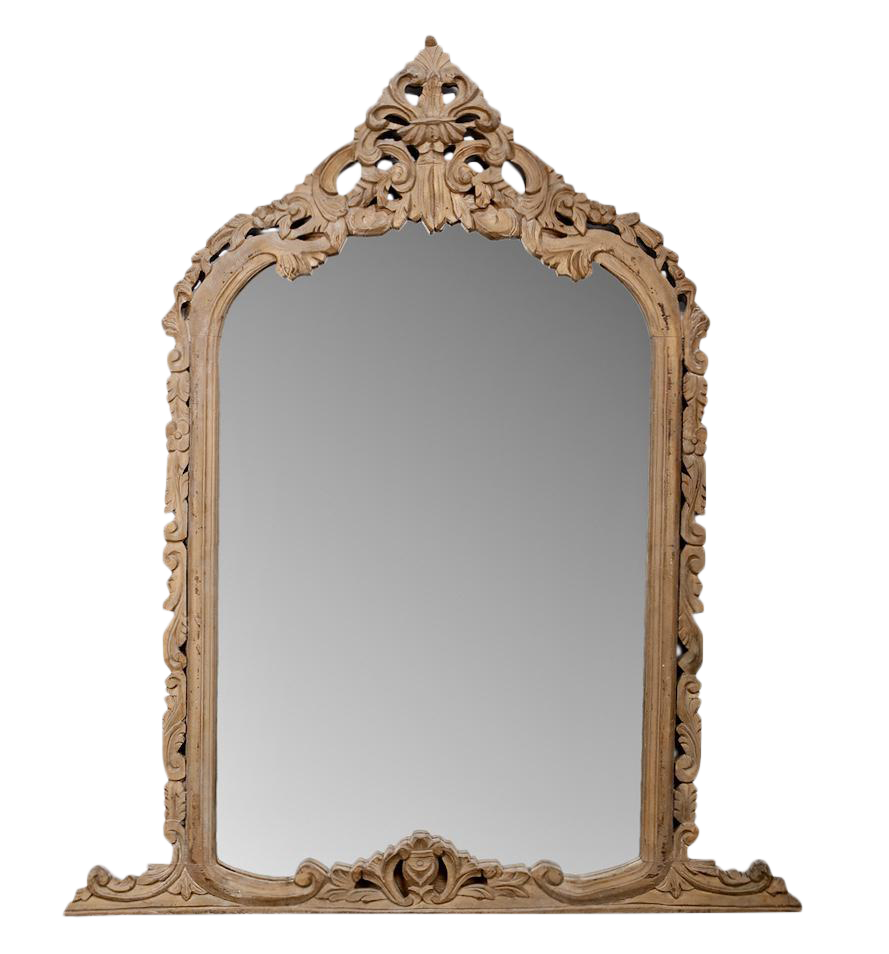 French Hand Carved Pine Crested Mantel Mirror C 1850