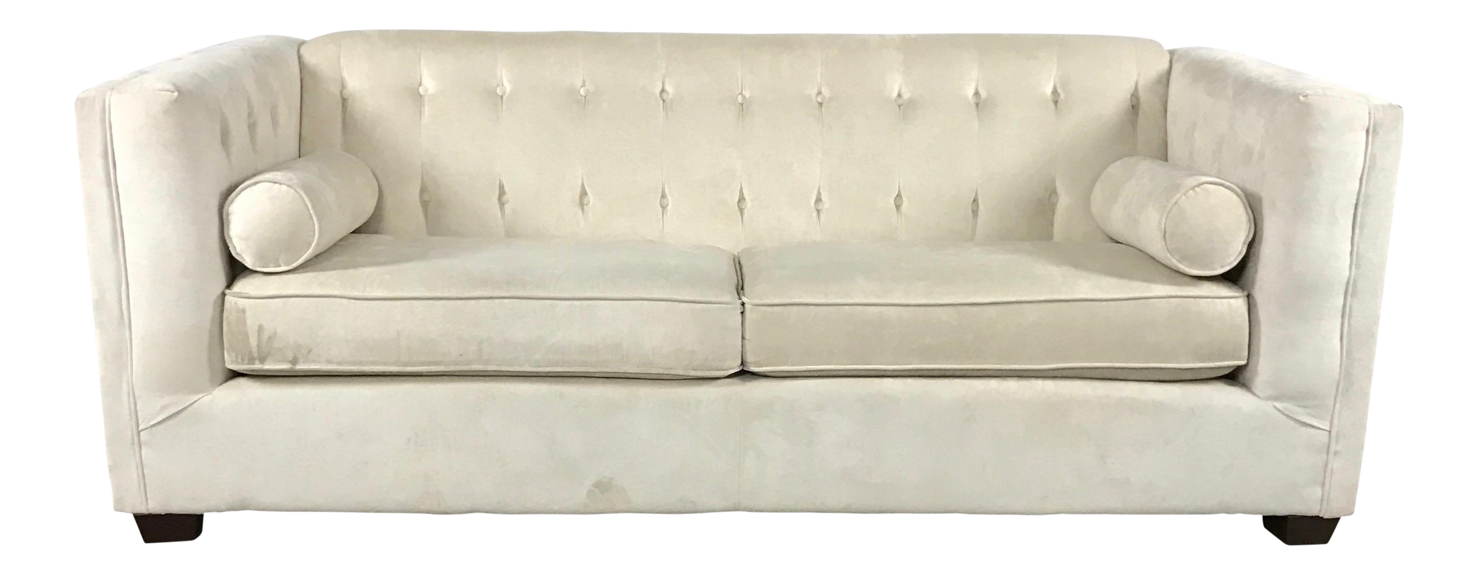 Modern Tufted White Suede Sofa