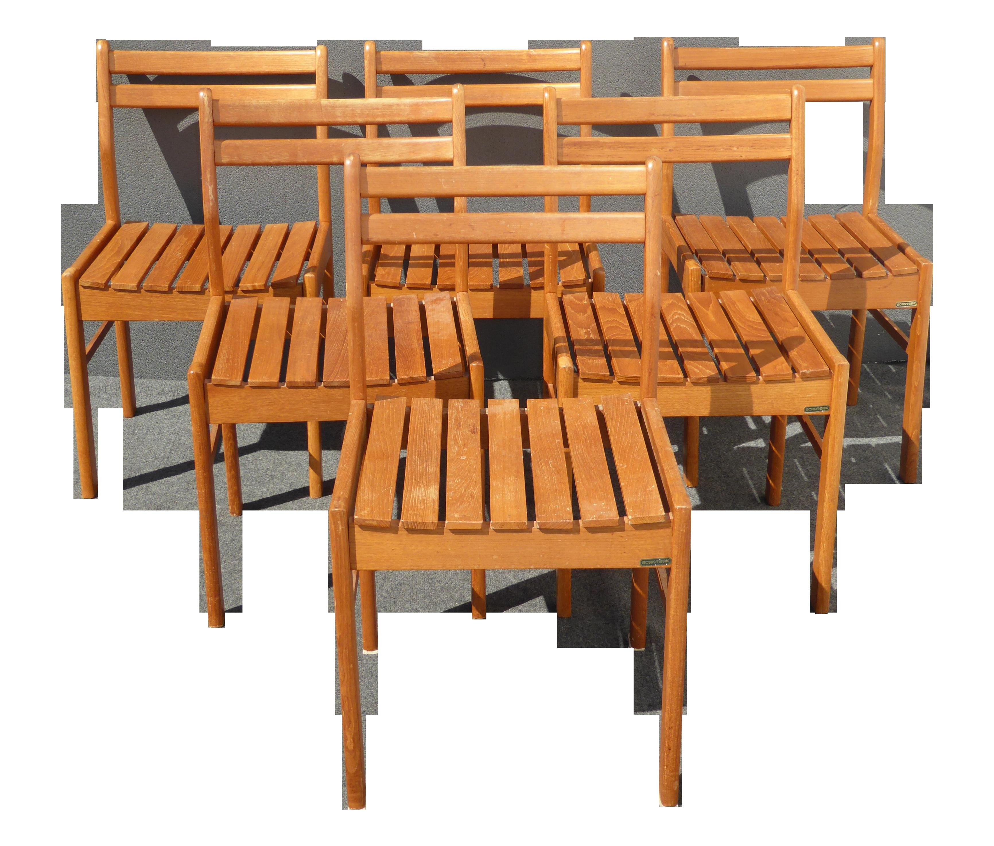 Danish Modern ScanTeak Outdoor Chairs Set Of 6 Chairish