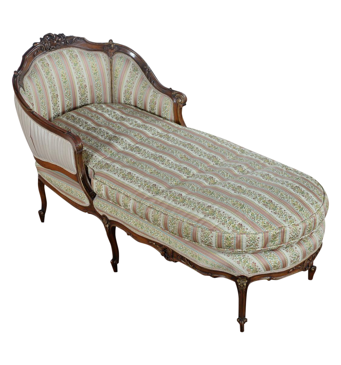 19th c louis xv mahogany french chaise lounge chairish. Black Bedroom Furniture Sets. Home Design Ideas