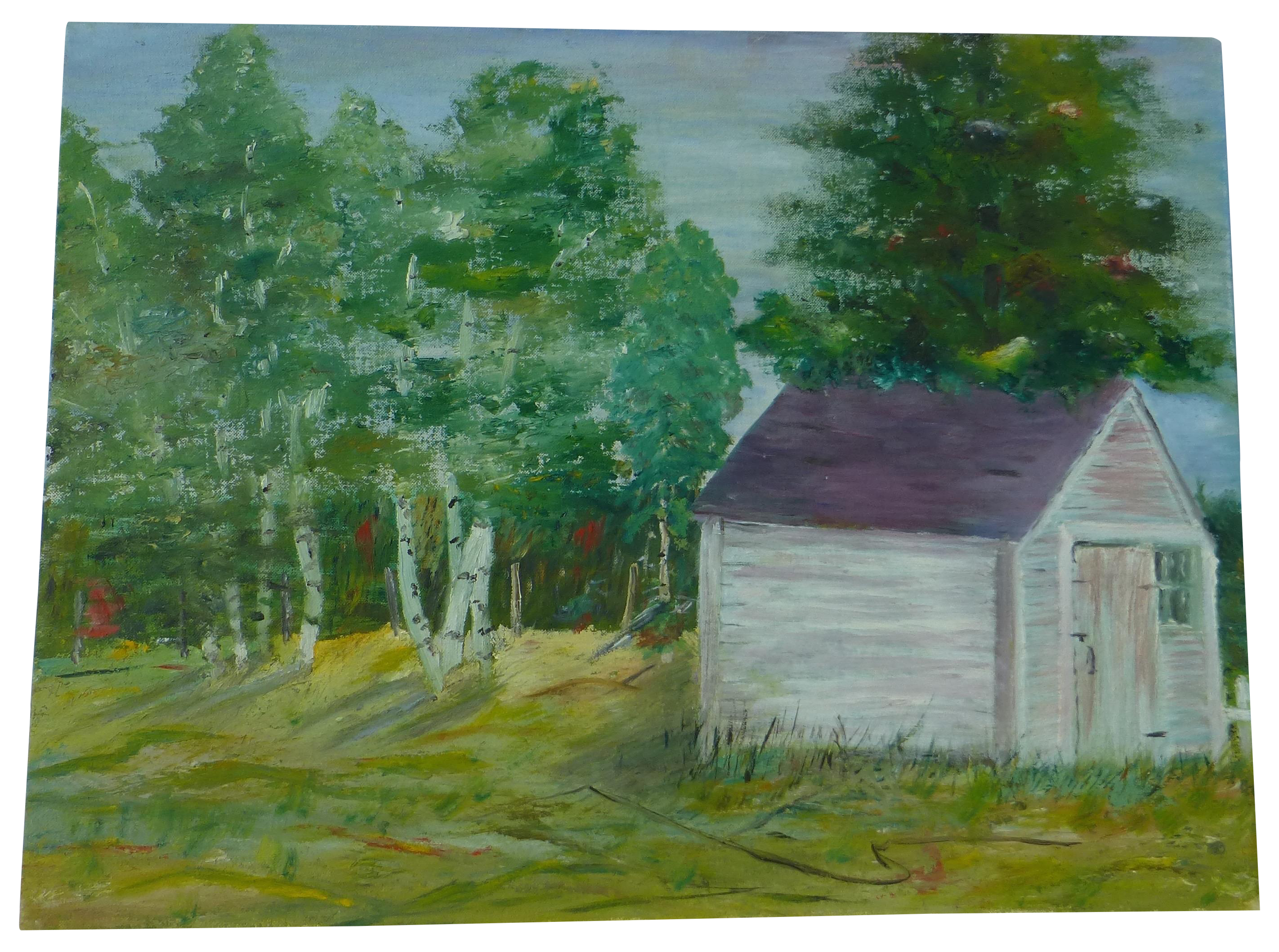 Mcm Painting Of Cabin In Woods H L Musgrave Chairish