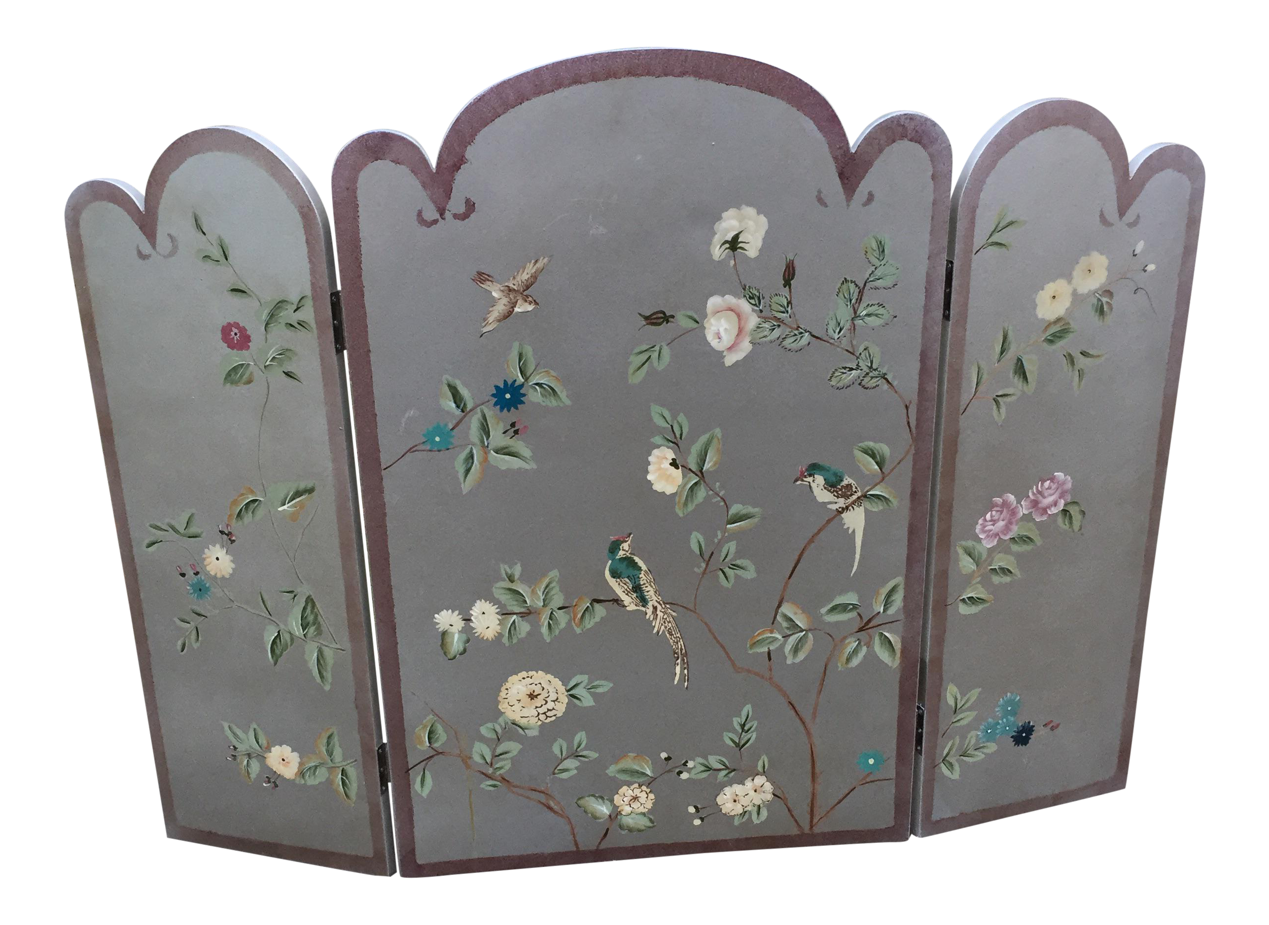 Silver Faux Painted Chinoiserie Fireplace Screen Chairish