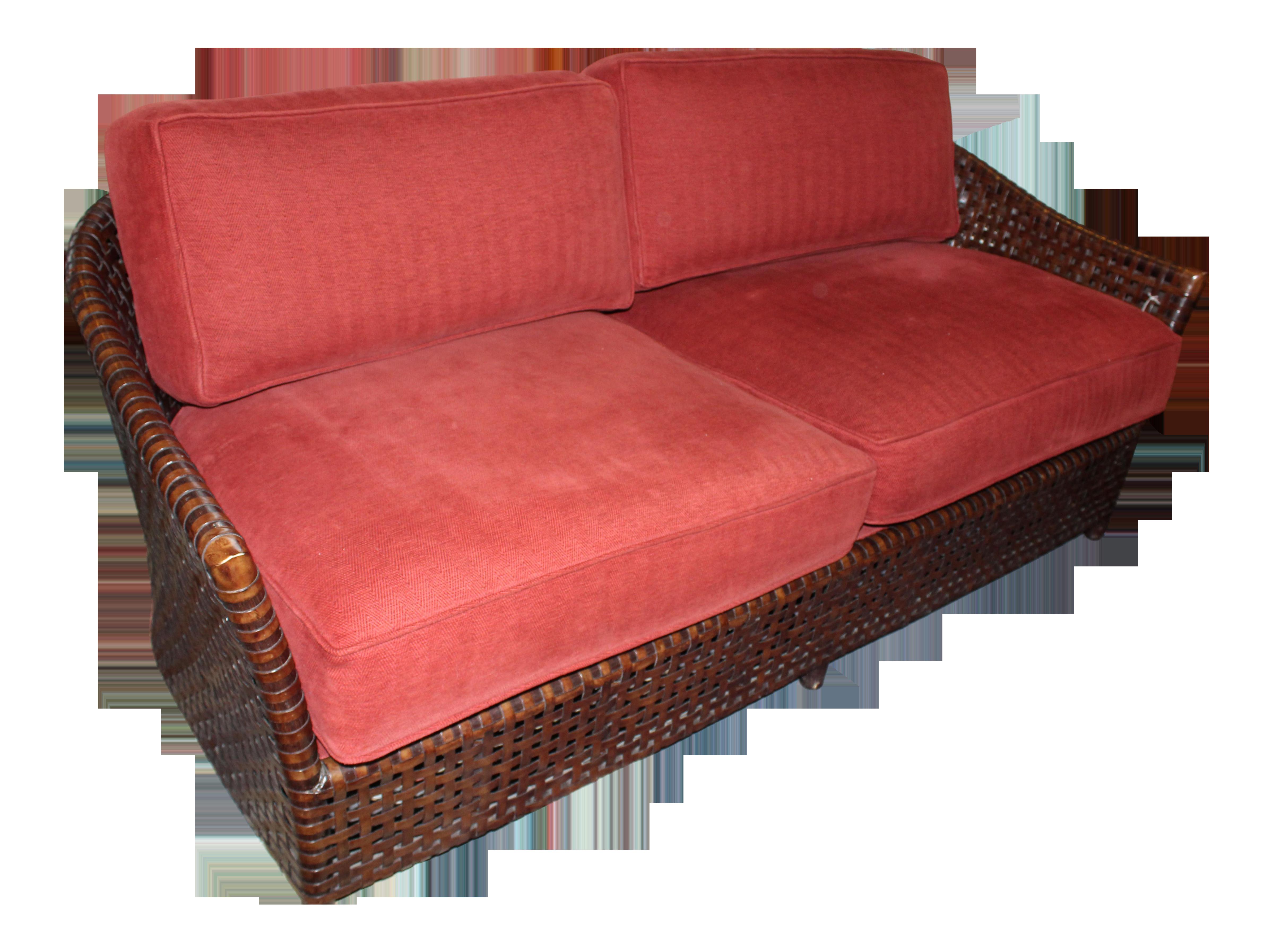 Mcguire Leather Rattan Sofa Chairish