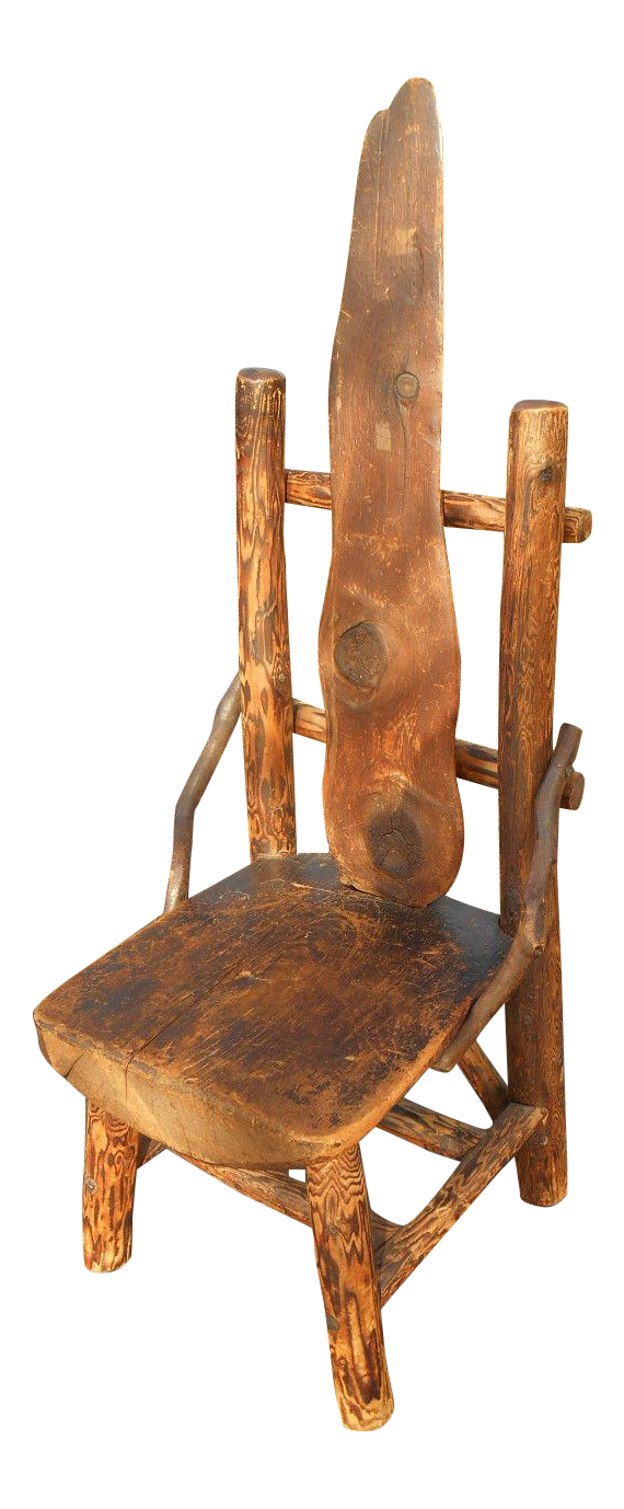 Rustic Burl Wood Bedroom Furniture: Antique Rustic Burl Wood Throne Chair
