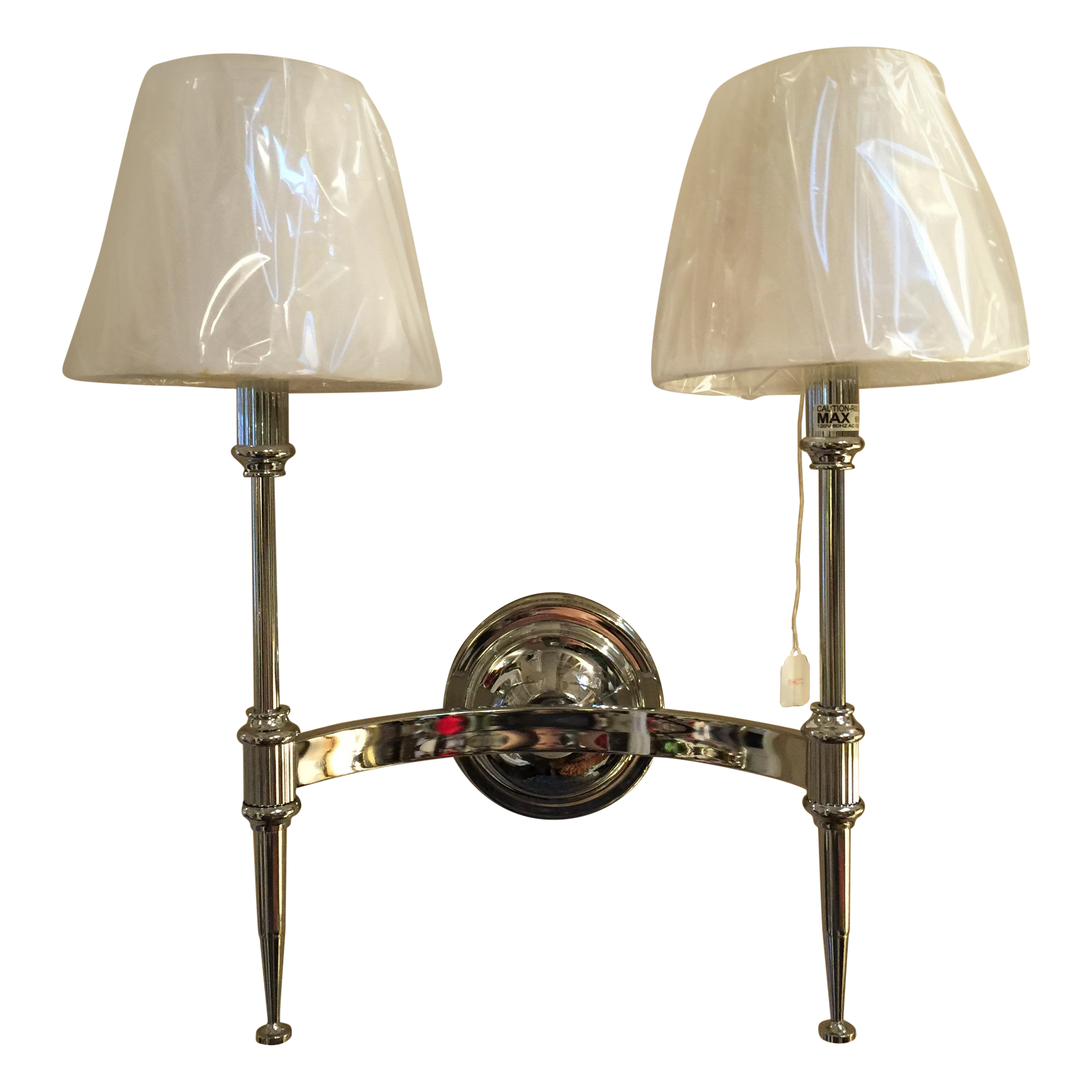Double Light Wall Sconces : Double Light Federalist Chrome Wall Sconce Chairish