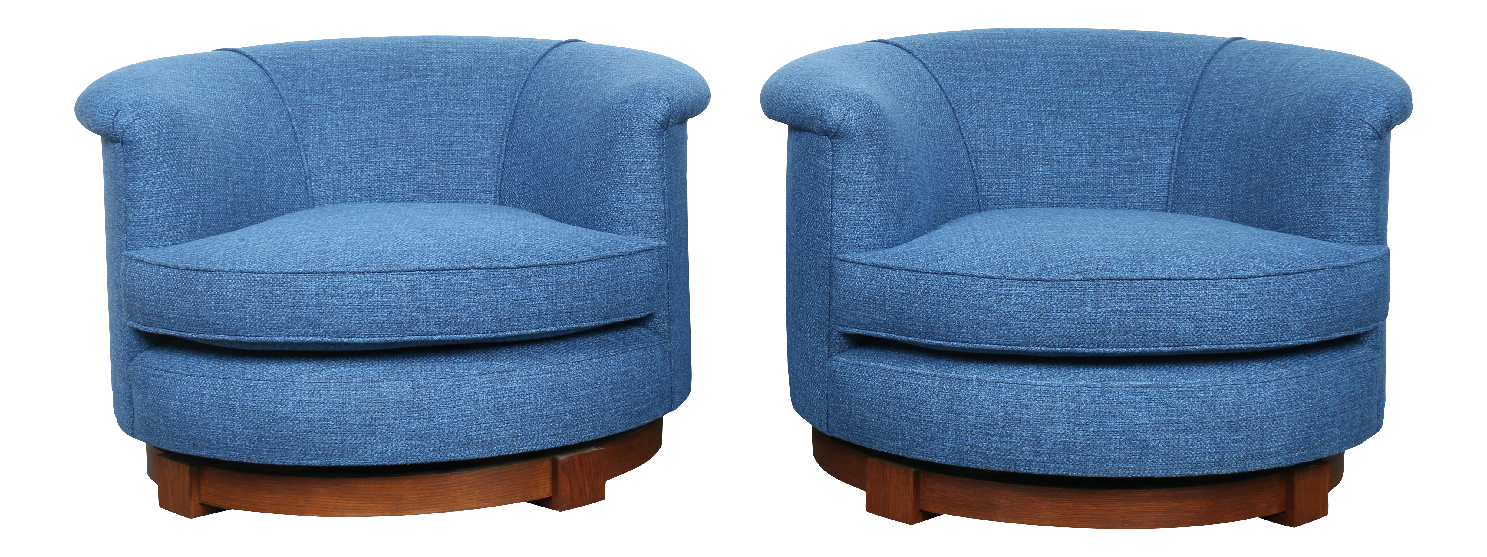 Navy Blue Swivel Chairs A Pair