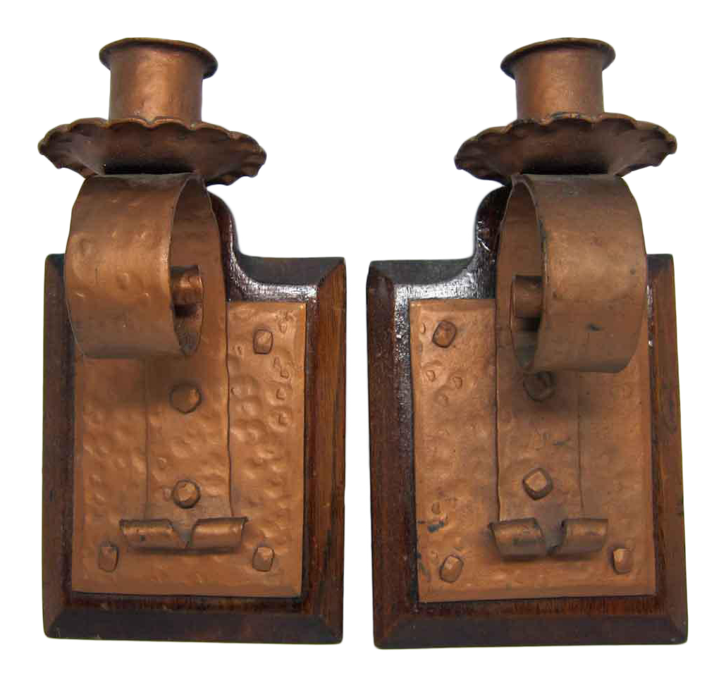 Arts crafts candle stick holders a pair chairish for Arts and crafts candle sconces