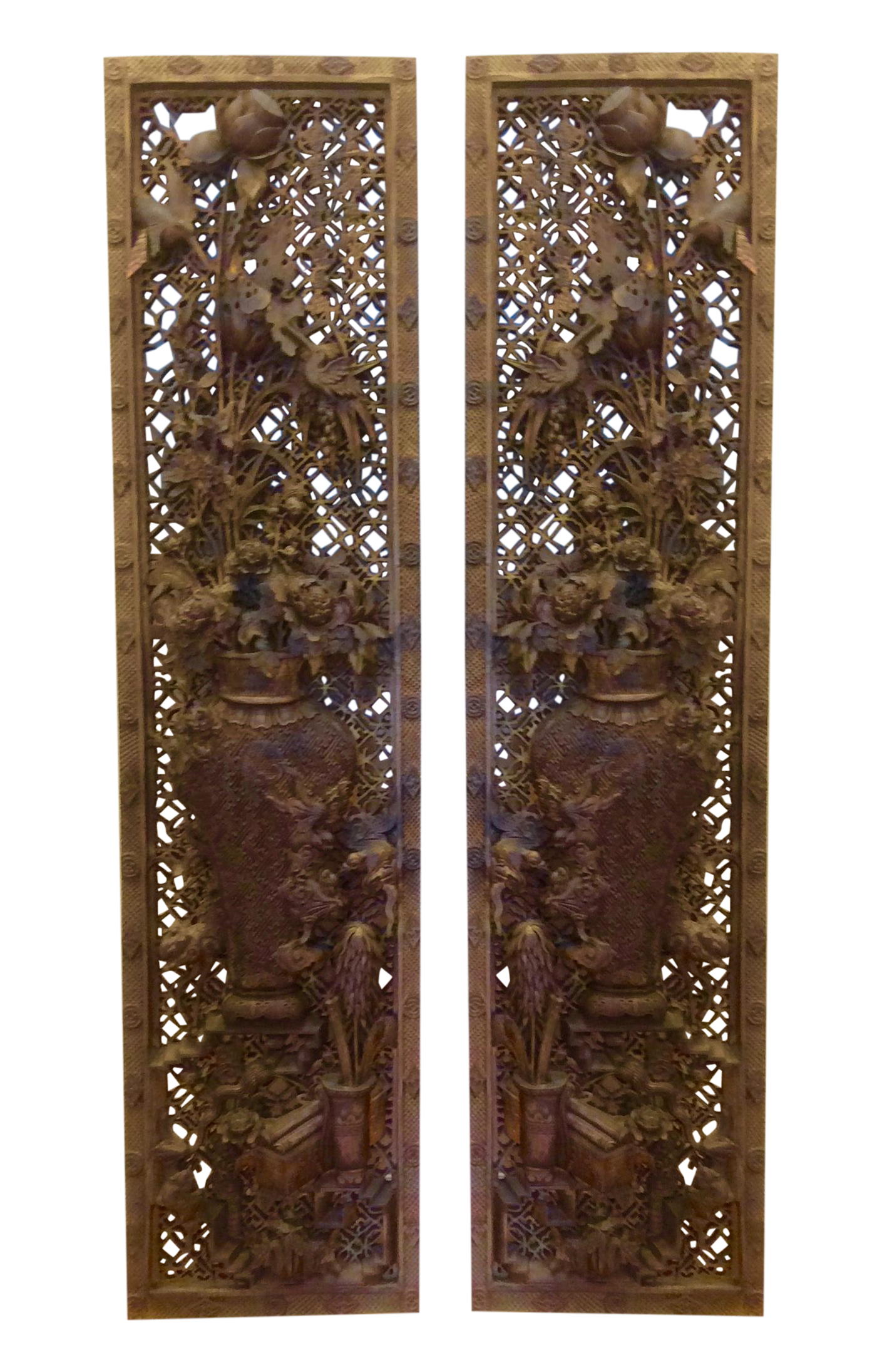 Antique Chinese Gilt Carved Wood Panels - Pair | Chairish