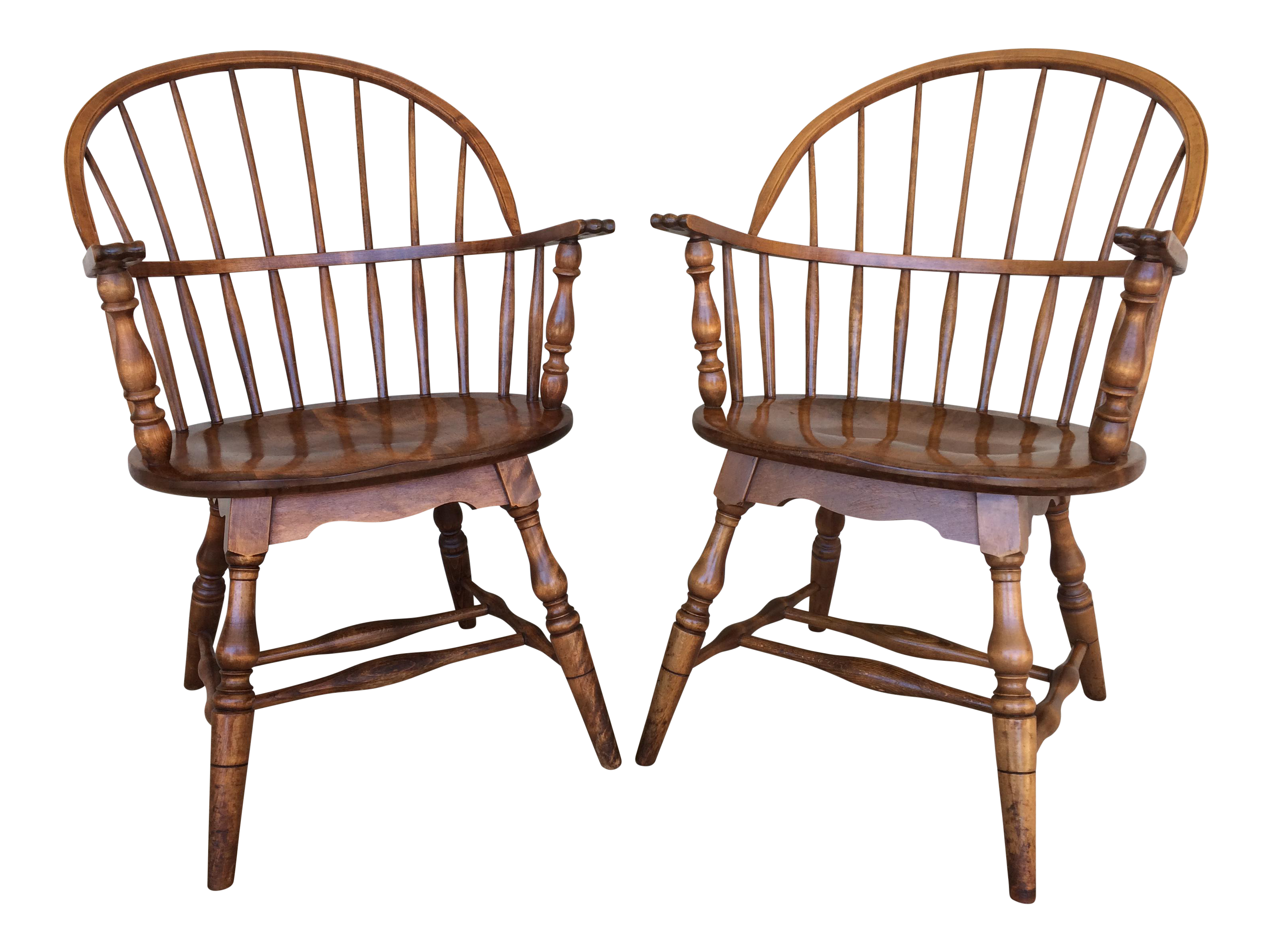 S Bent Bros Windsor Hoop Back Arm Chairs A Pair