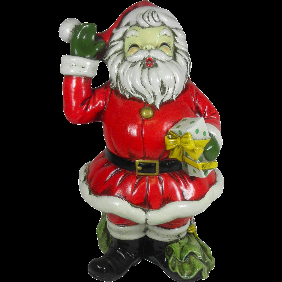 Large plaster santa claus figurine chairish