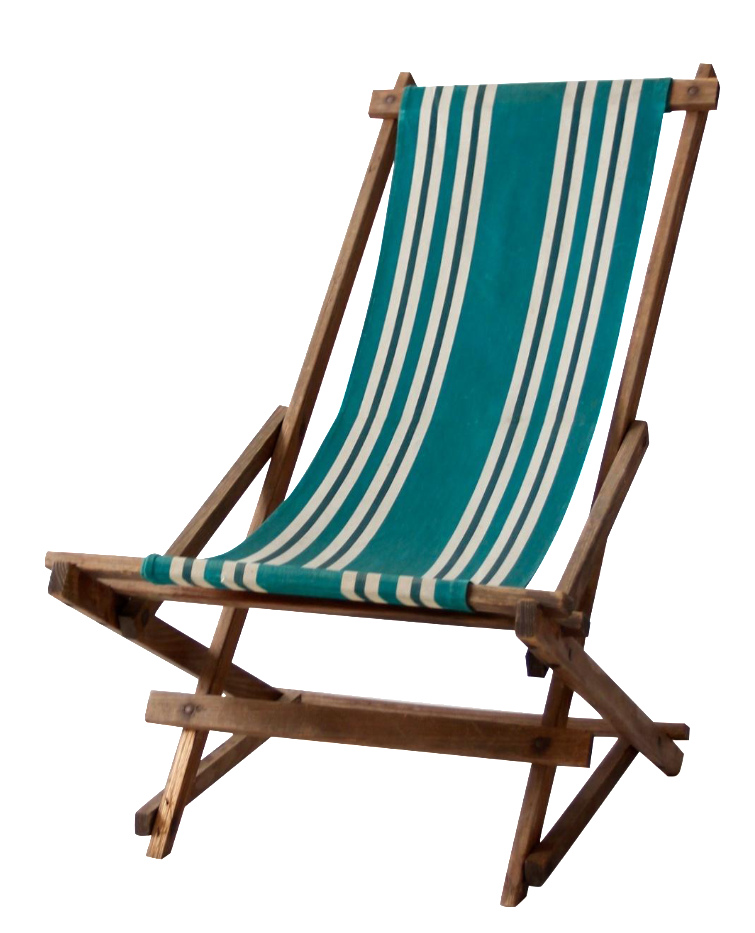 Vintage Green Striped Deck Chair Chairish
