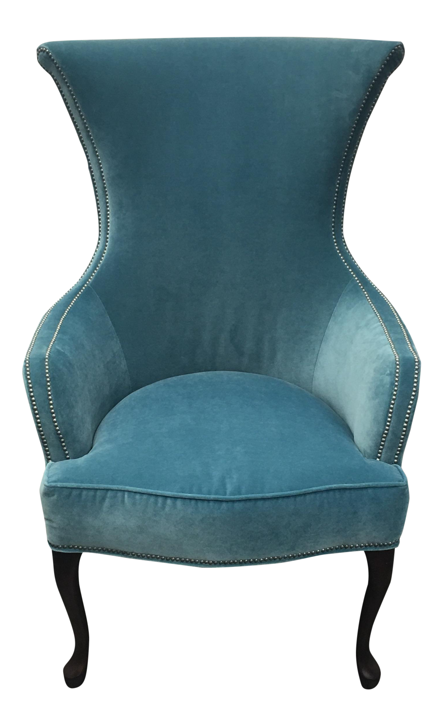 Antique queen anne wingback chair - Henredon Teal Velvet Hourglass Chair