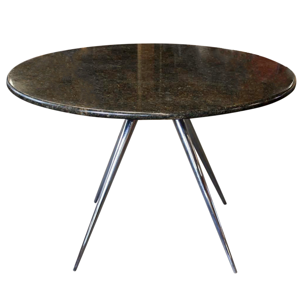 Round Marble Dining Table on Chrome Legs  Chairish
