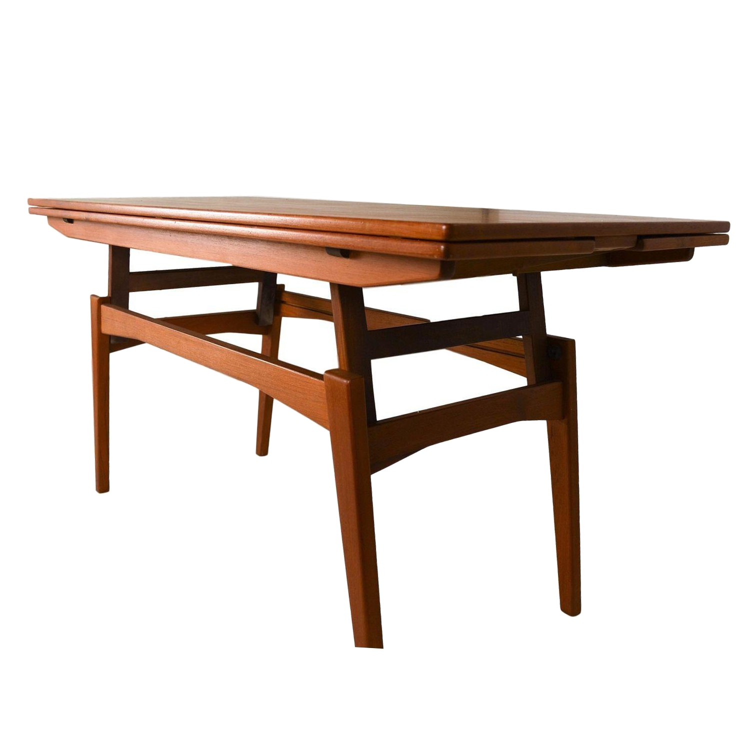 Danish teak convertible dining coffee table chairish Coffee table to dining table