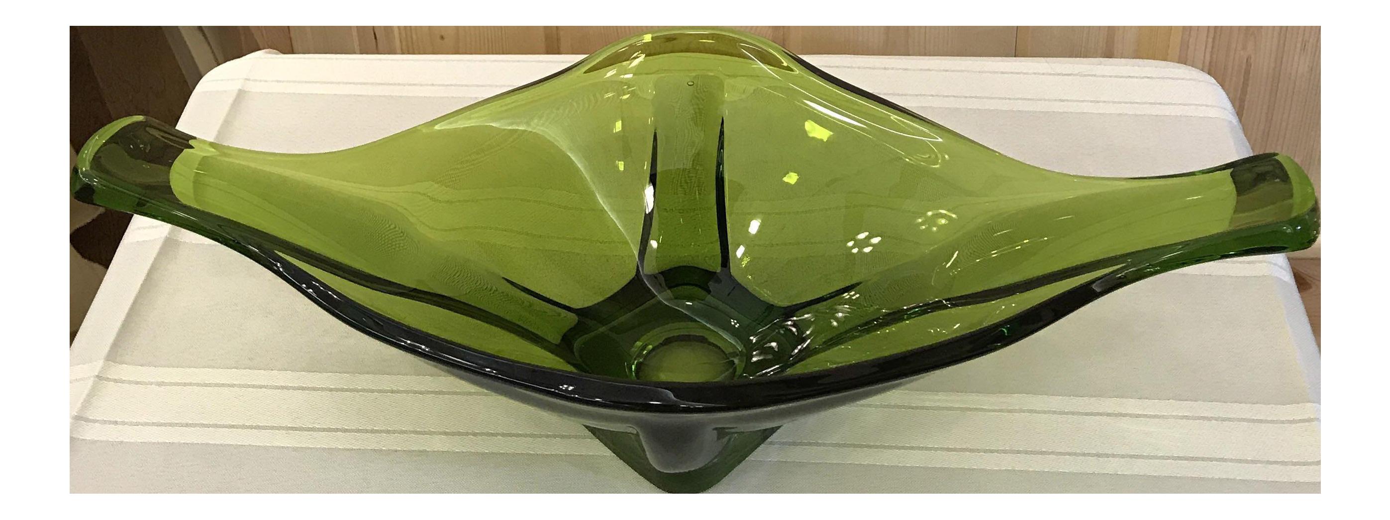 Mid century modern green art glass centerpiece bowl chairish