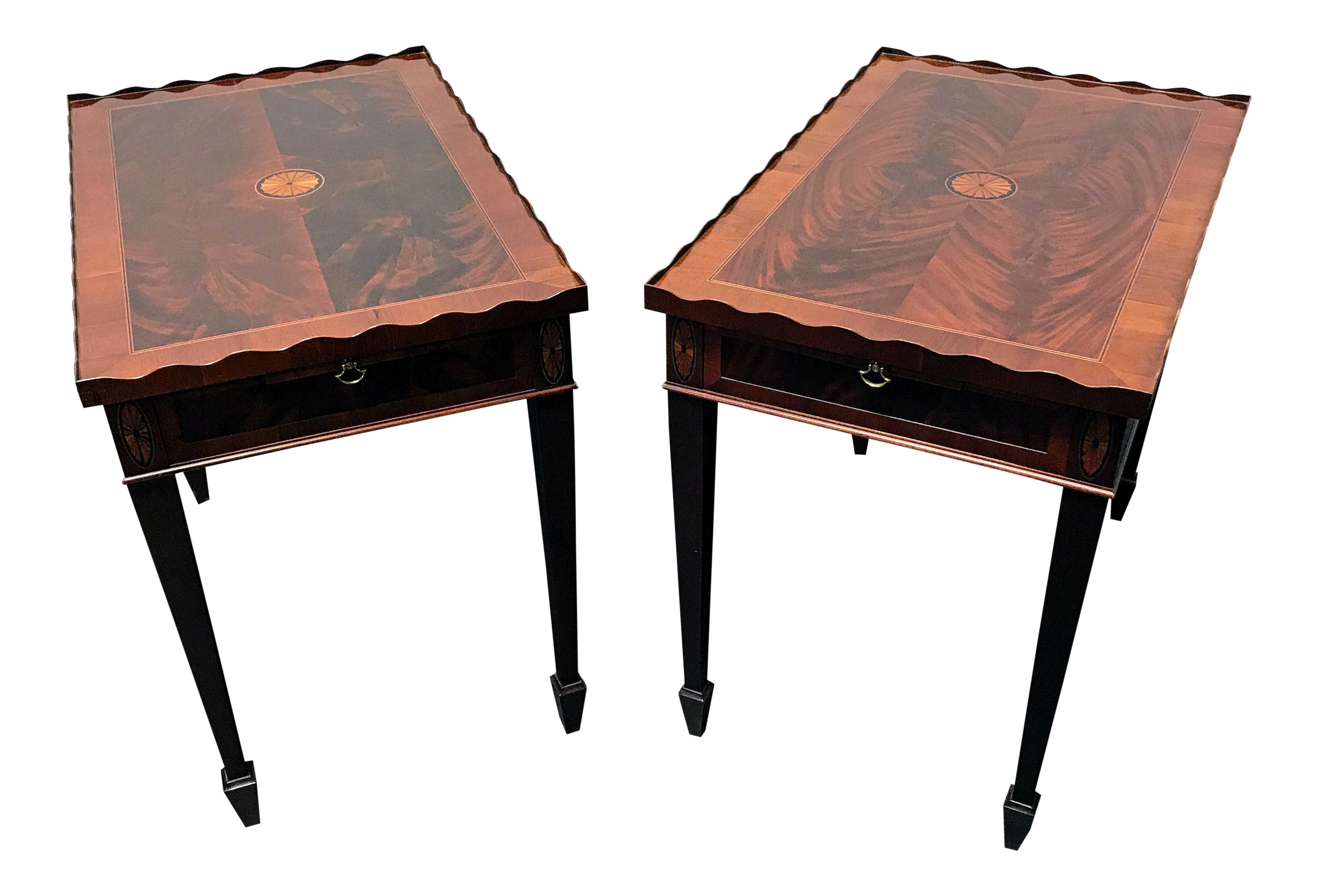 Hekman Copley Place Federal Style Inlaid Flame Mahogany Tea Tables