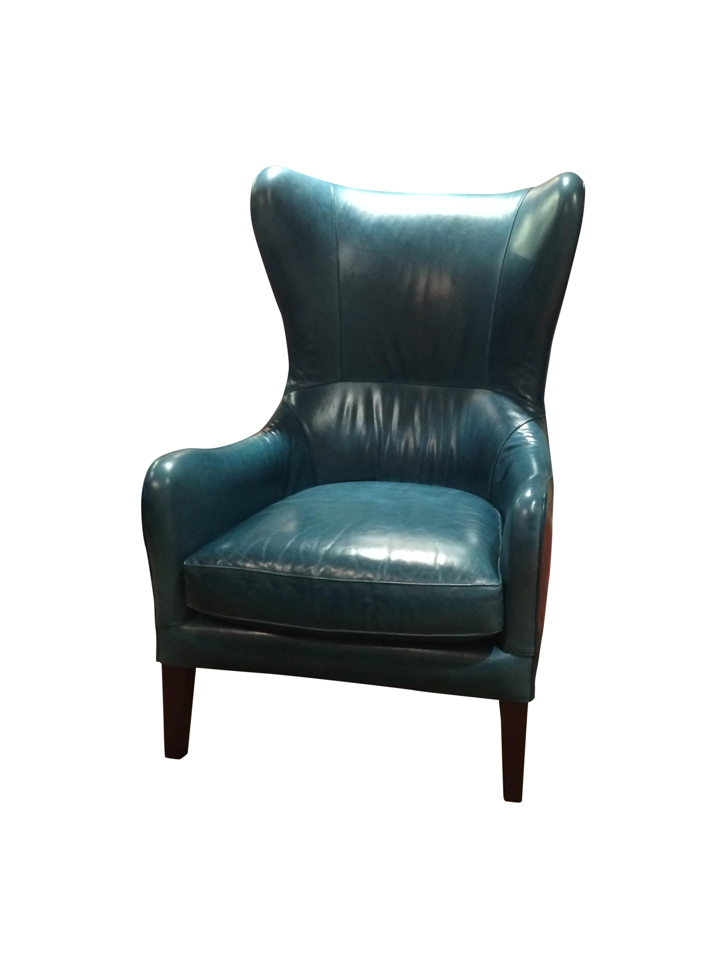 Crate barrel teal garbo leather wingback chair chairish for Small teal chair