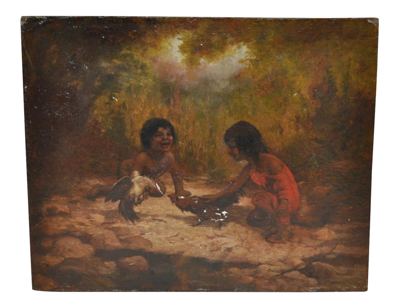 Oil painting of pomo indian children chairish for Oil painting for kids