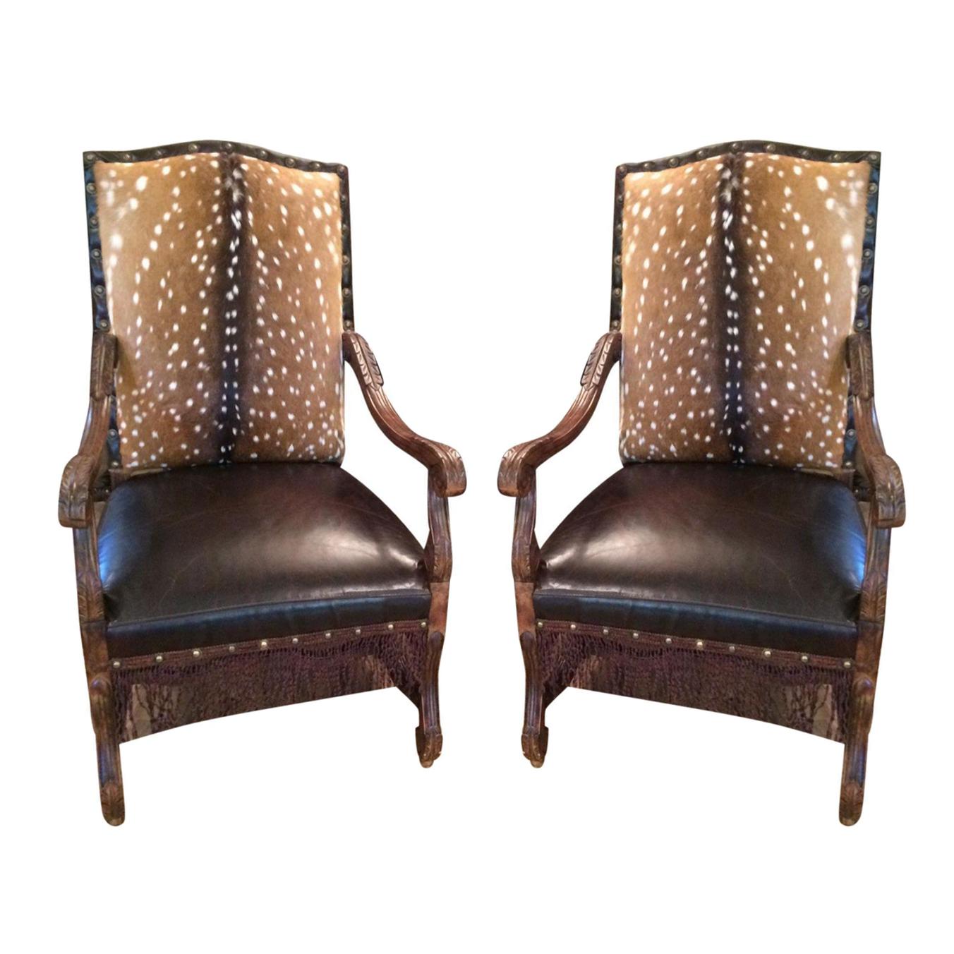 Axis Deer Hide u0026 Leather Armchairs - Pair : Chairish
