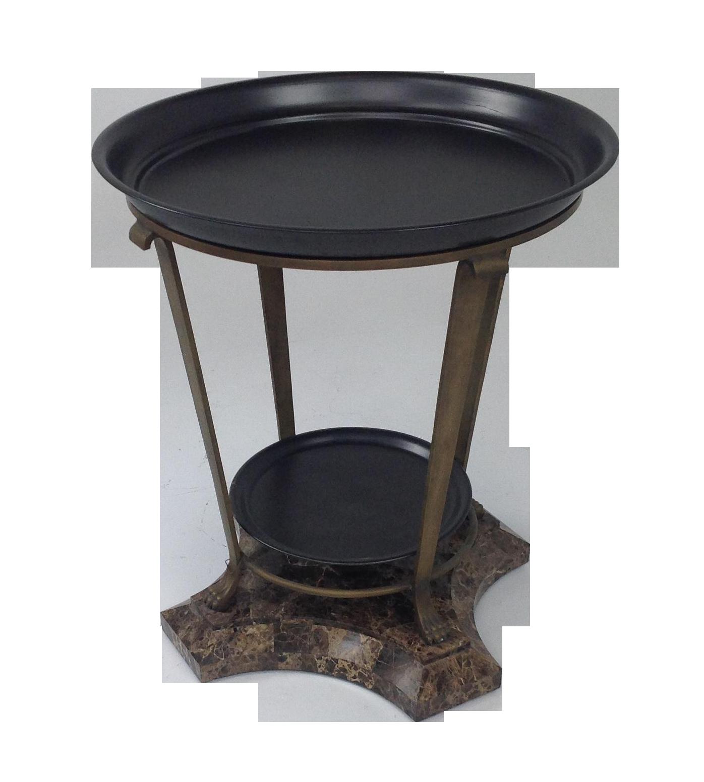 Metal Foyer Table : Claw foot travertine iron foyer table chairish