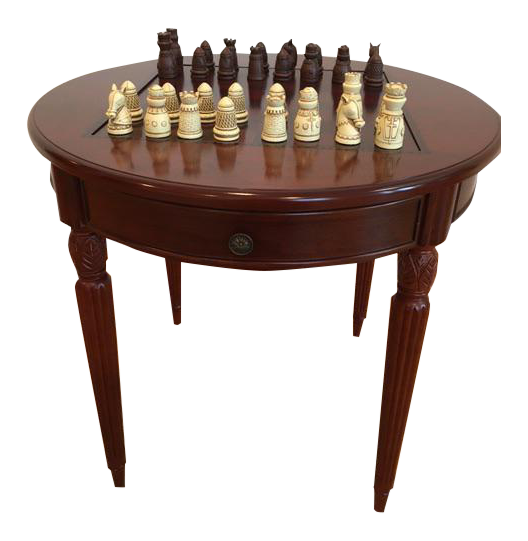 Classic cherry wood game table chairish for 12 in 1 game table groupon