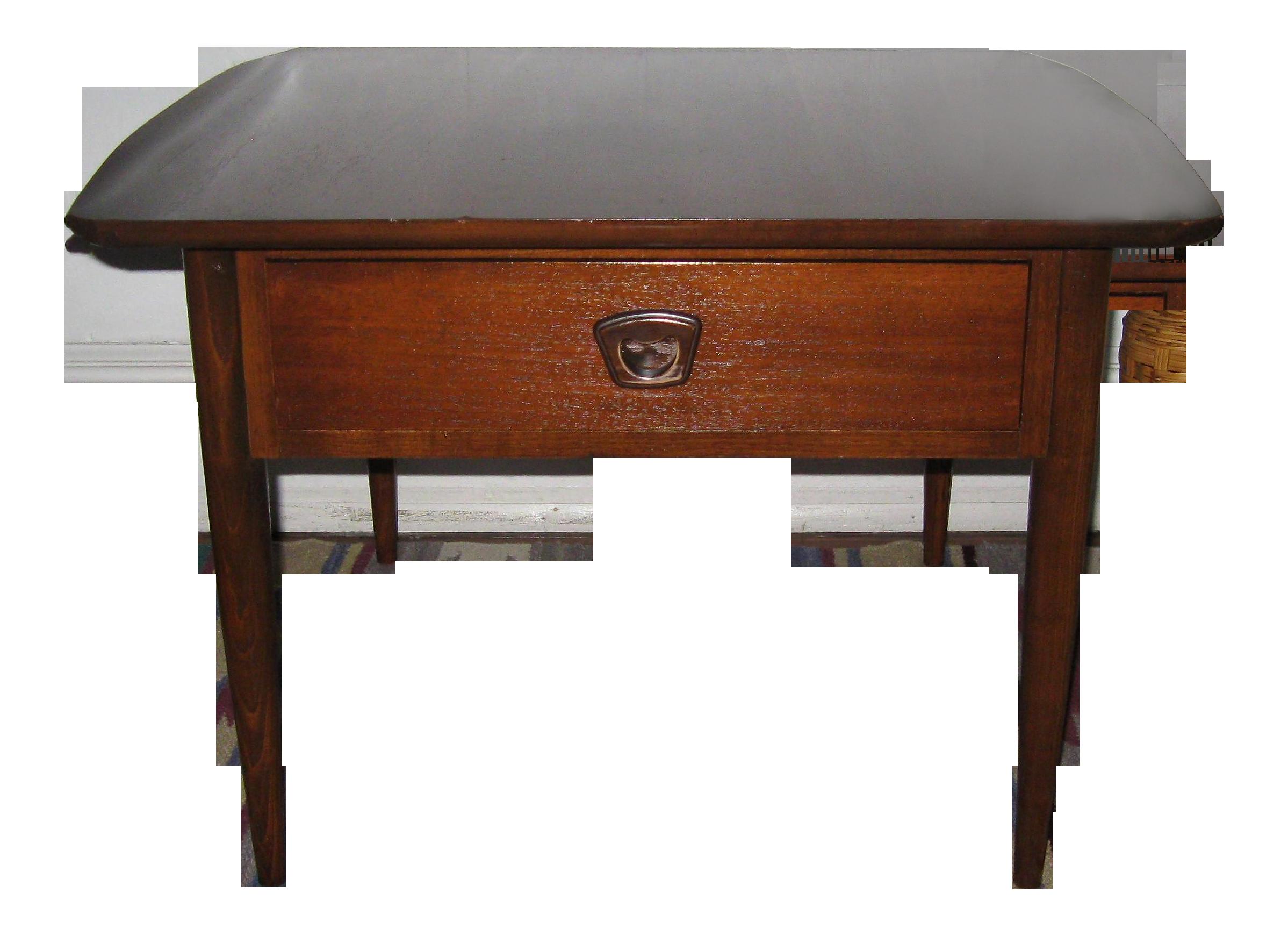bassett furniture mid century modern walnut table chairish