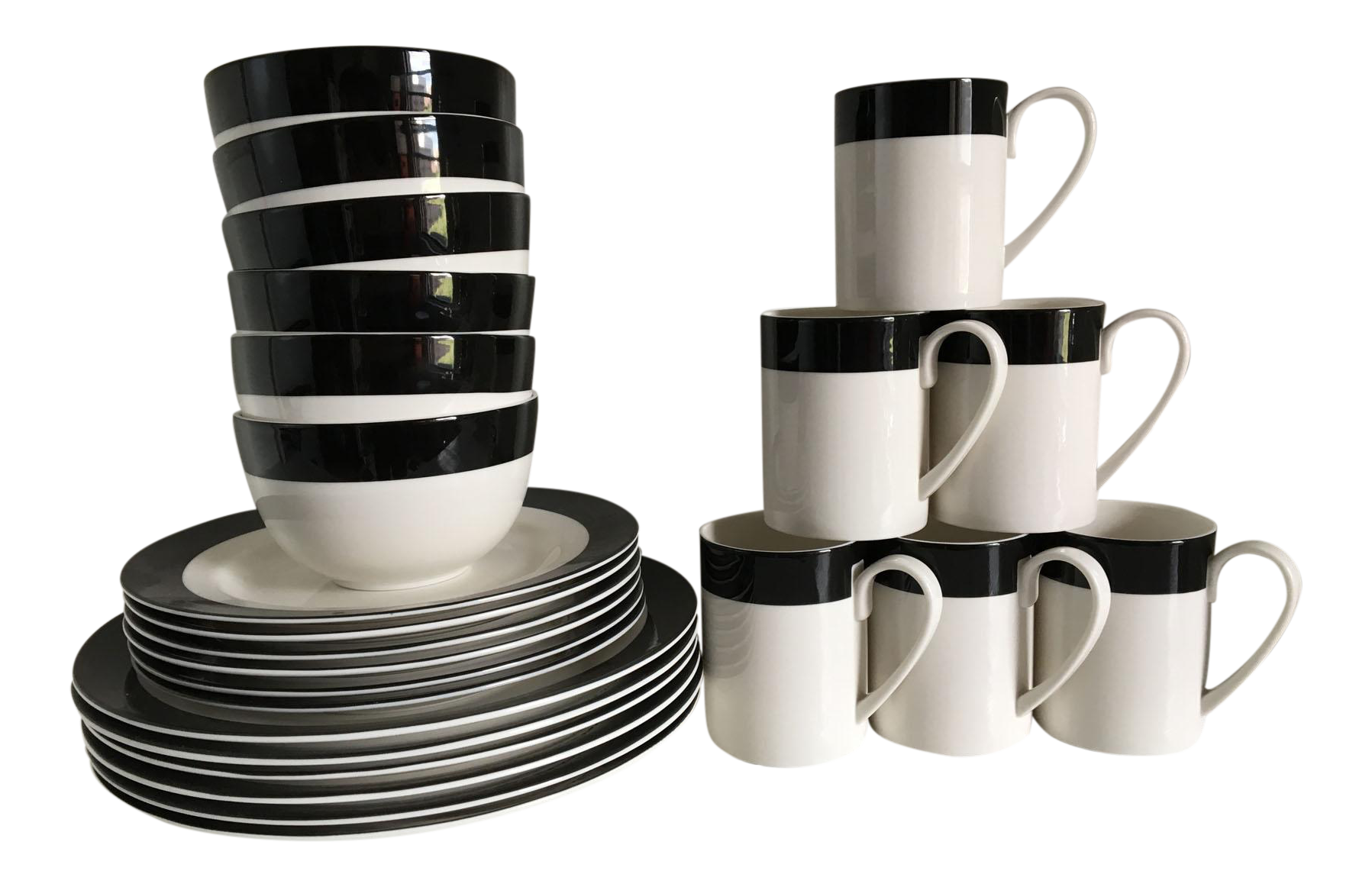 graphic black and white dinnerware set 32 pieces chairish. Black Bedroom Furniture Sets. Home Design Ideas