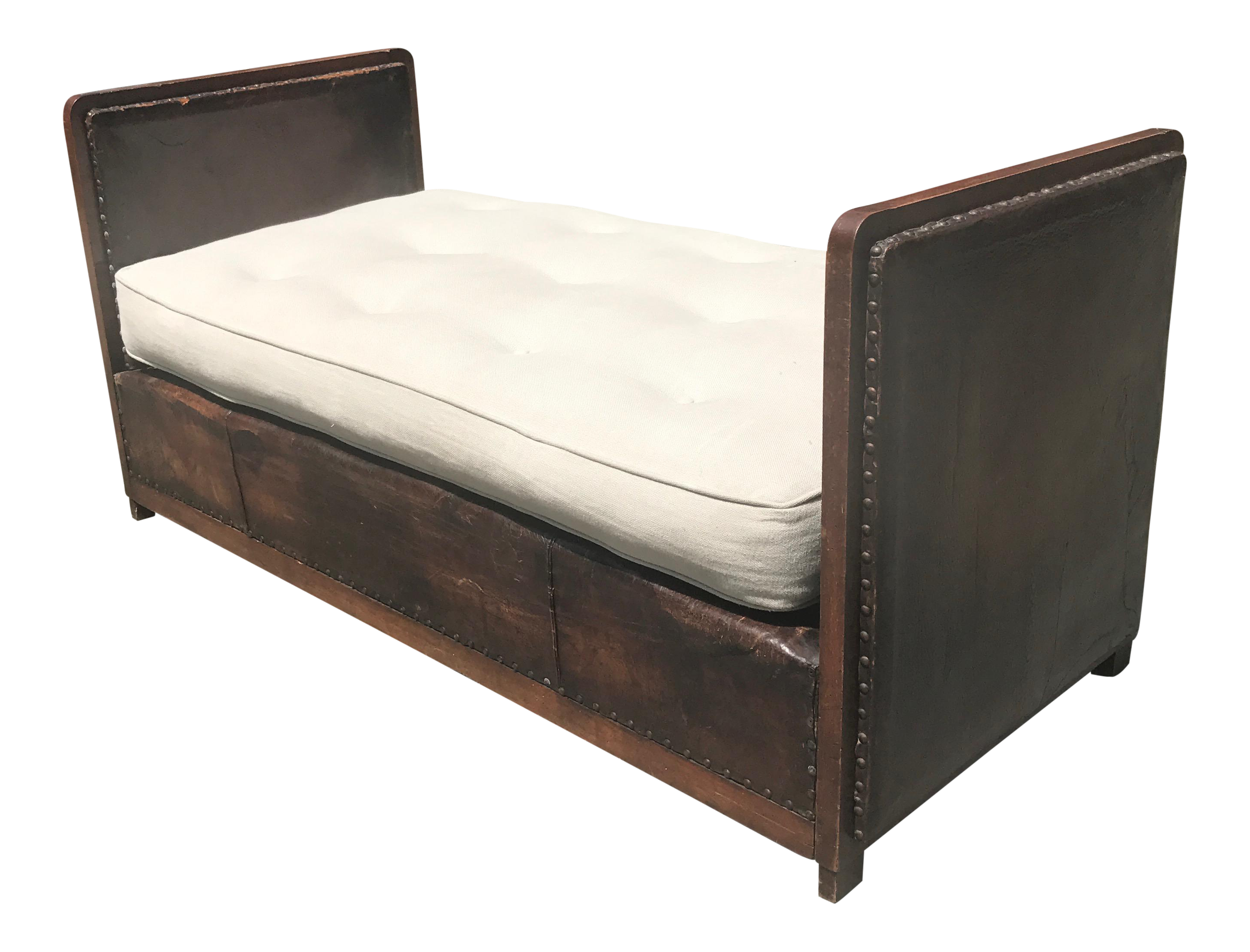 1940 39 s leather upholstered bench daybed chairish for Leather daybed bench