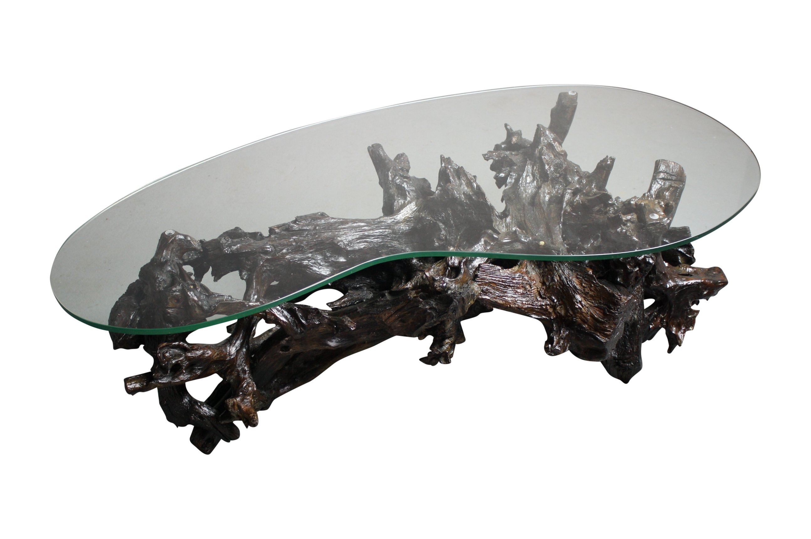 Kidney Shaped Glass Top Coffee Table 70s Driftwood Coffee Table Kidney Shaped Glass Top Chairish