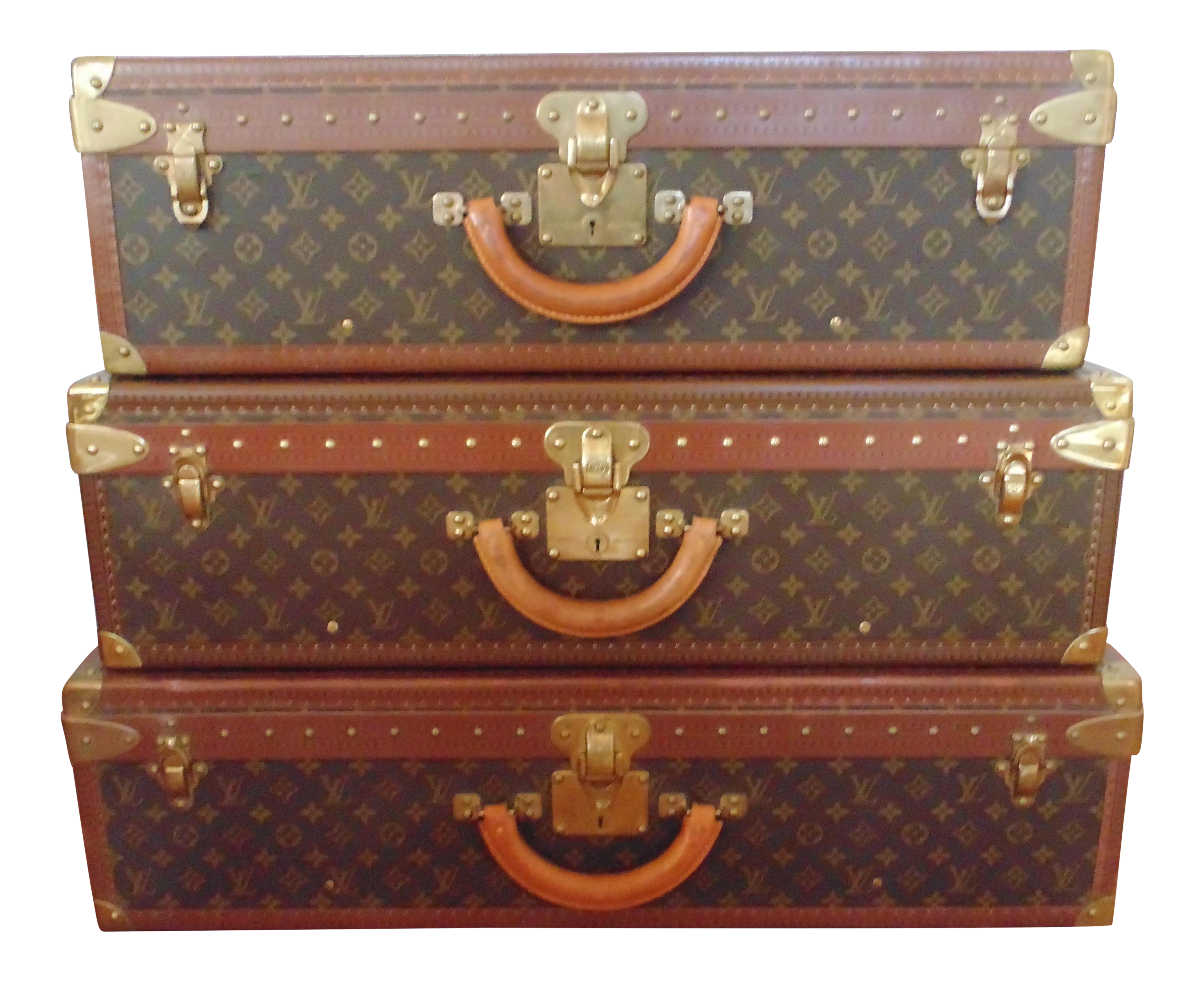 Vintage used trunks chairish louis vuitton alzer stacking hard cases set of 3 geotapseo Images