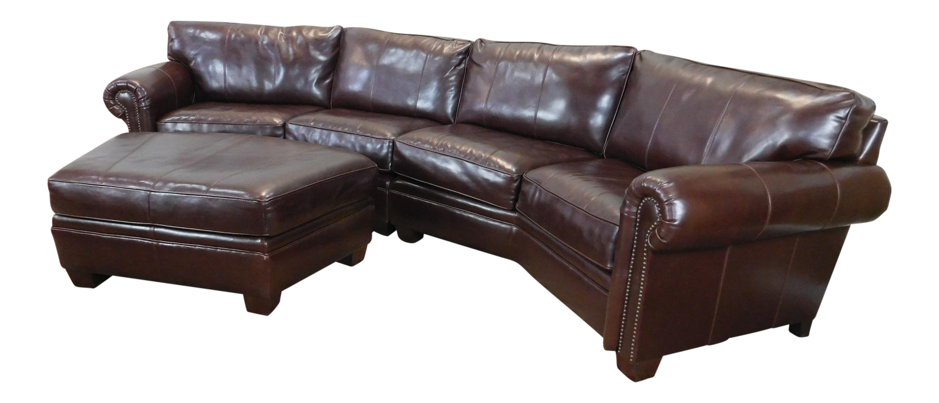 3 Piece Bernhardt Brown Leather Sectional Sofa Amp Ottoman