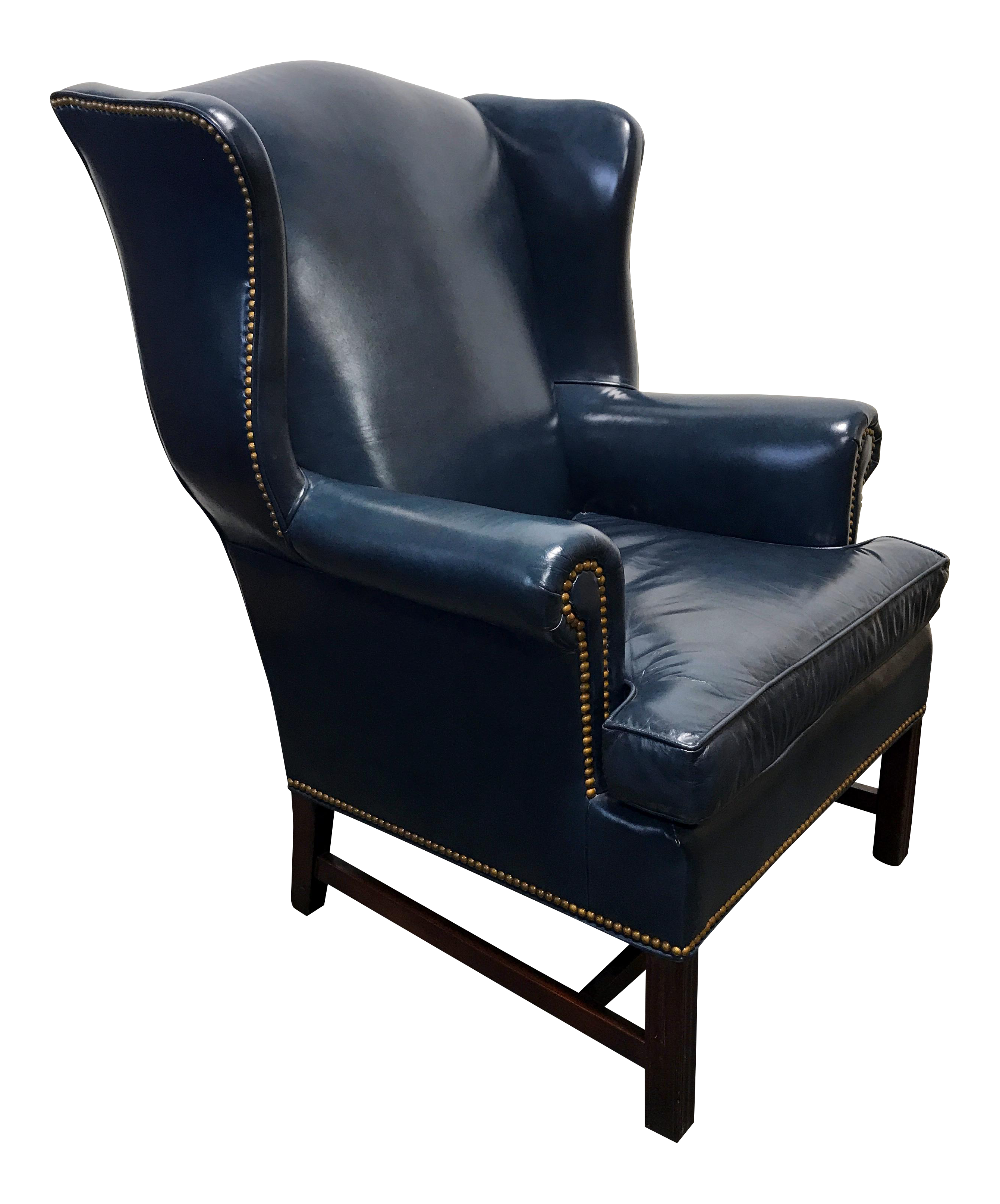 HANCOCK & MOORE Navy Blue Leather Chippendale Wing Chair with