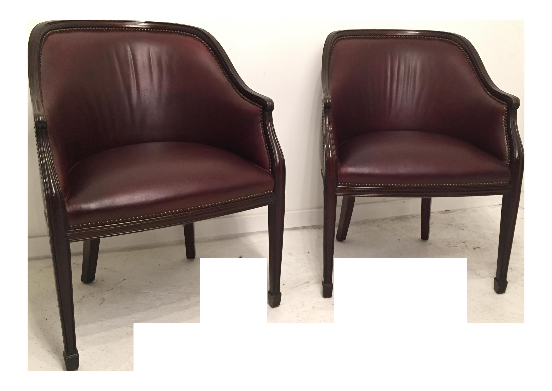 Smith and Watson Burgundy Leather & Mahogany Hepplewhite Tub