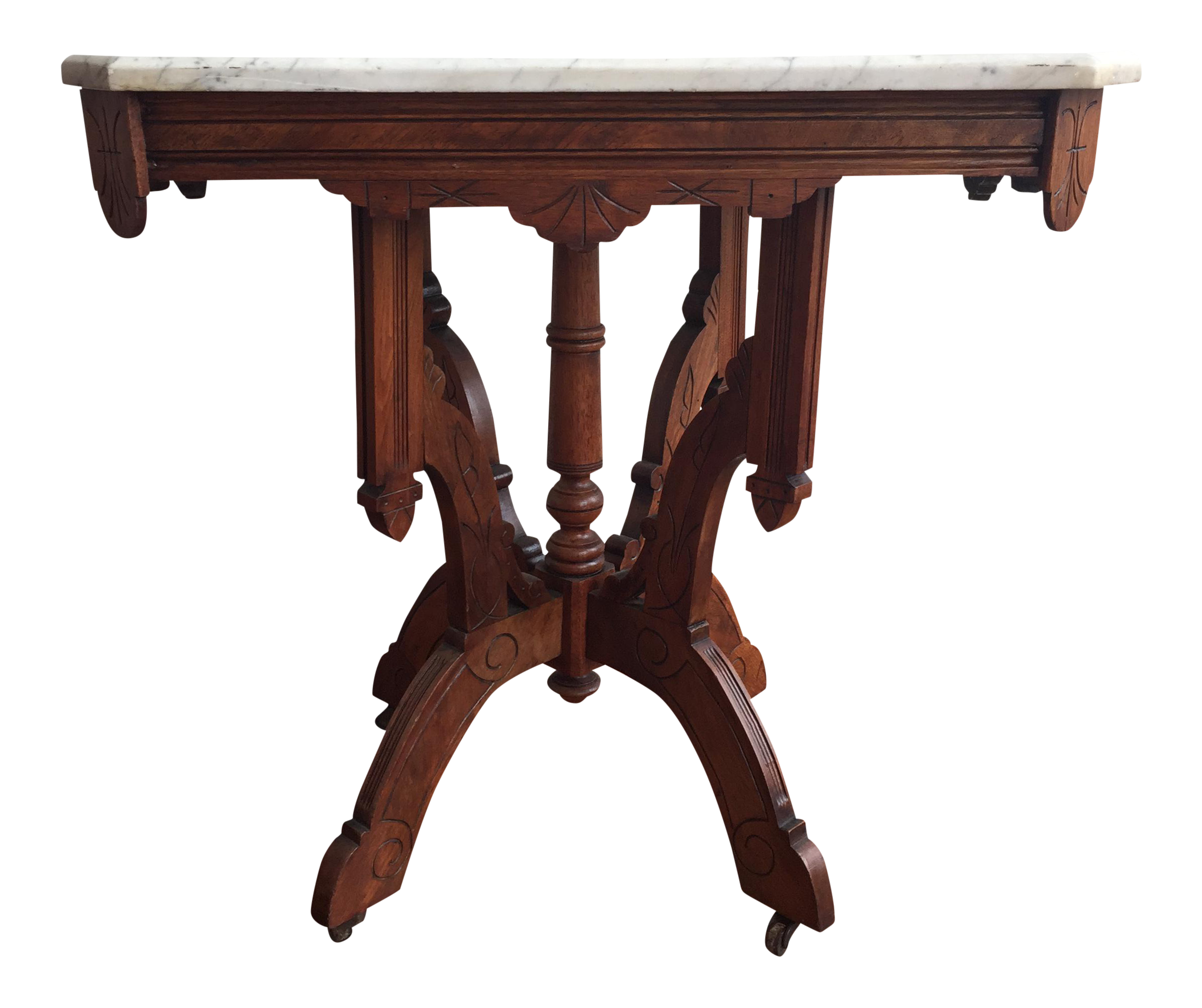 Victorian Style Marble Coffee Table: Victorian Square Marble Top Side Table
