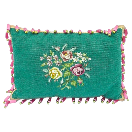 Vintage English Roses Green Needlepoint Pillow Chairish