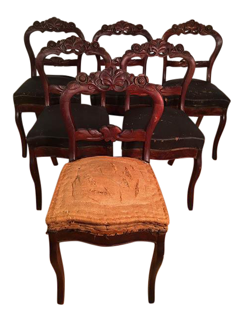 Victorian mahogany dining room chairs set of 6 chairish for Mahogany dining room chairs