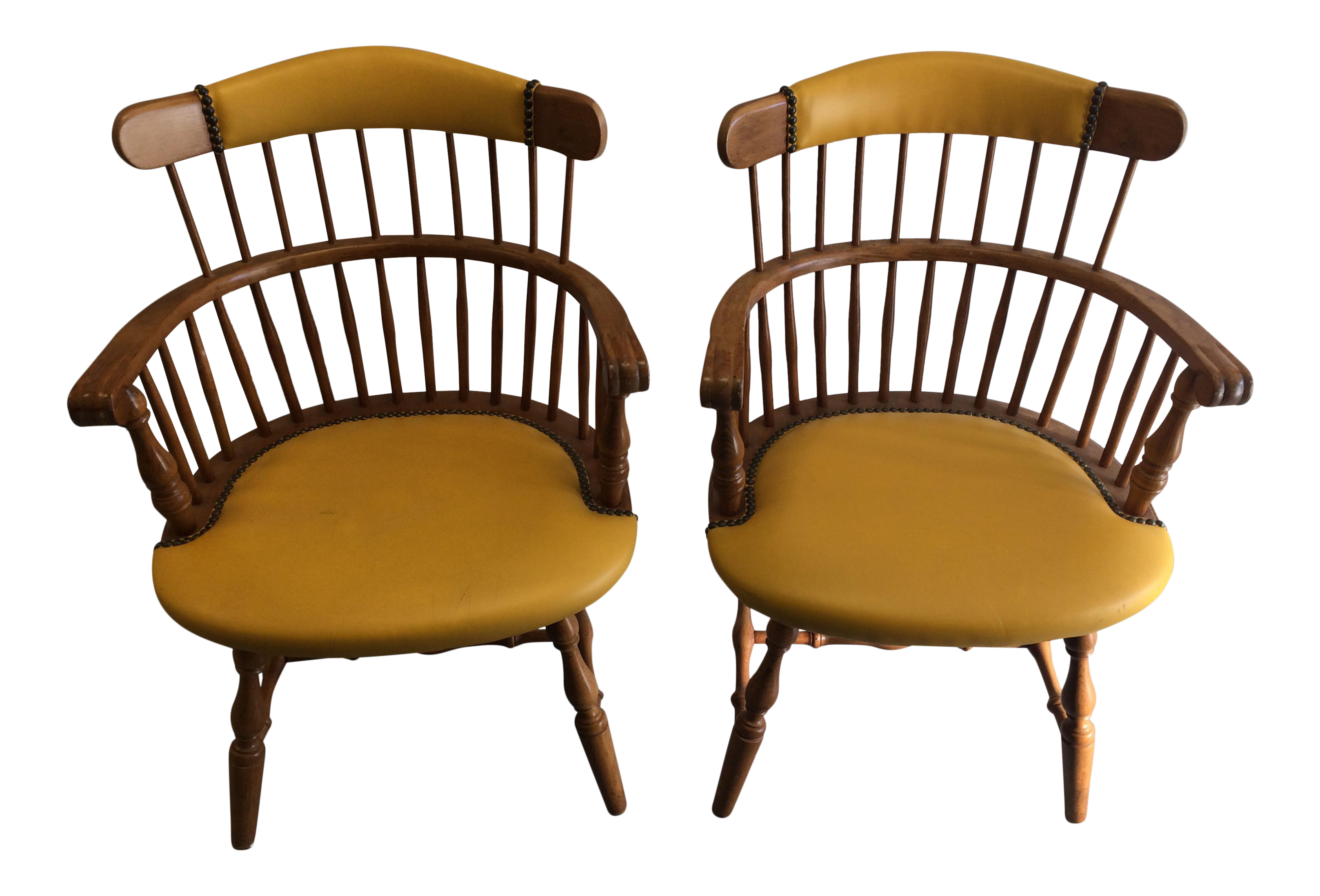 Double Spindle Back Chairs A Pair