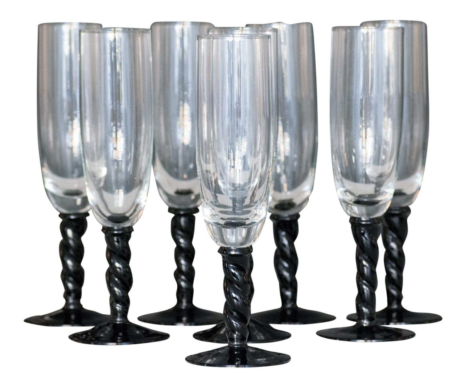 midcentury modern champagne flutes  set of   chairish - image of midcentury modern champagne flutes  set of