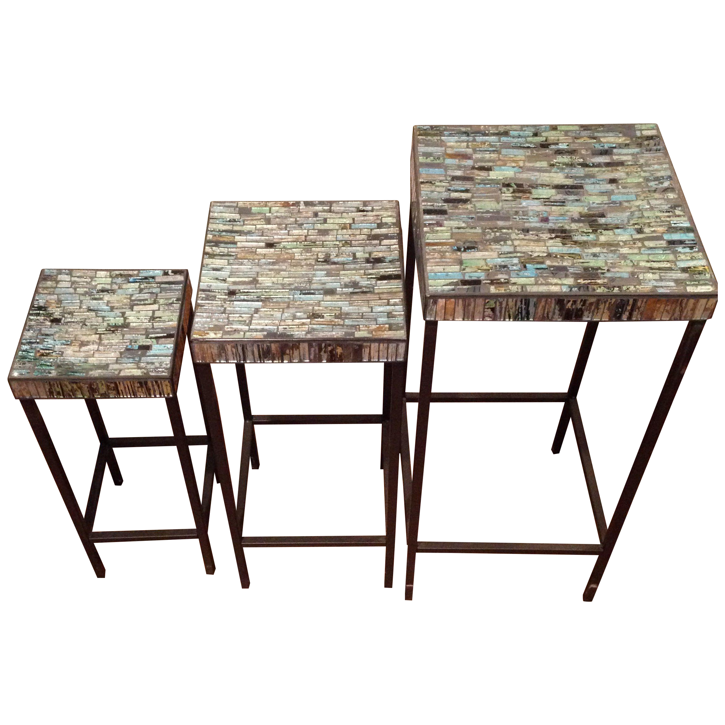 Blue Glass Mosaic Nesting Tables Set Of 3 Chairish. Full resolution  image, nominally Width 2322 Height 2322 pixels, image with #2E1A16.