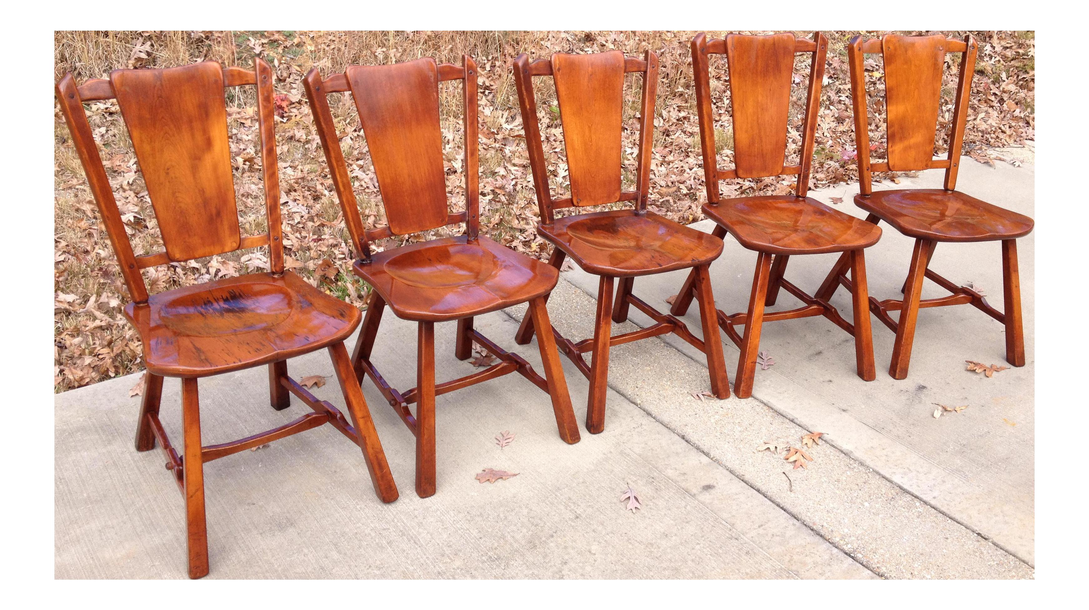 Heywood Wakefield Priscilla Flat Bone Back Chairs Set of 5