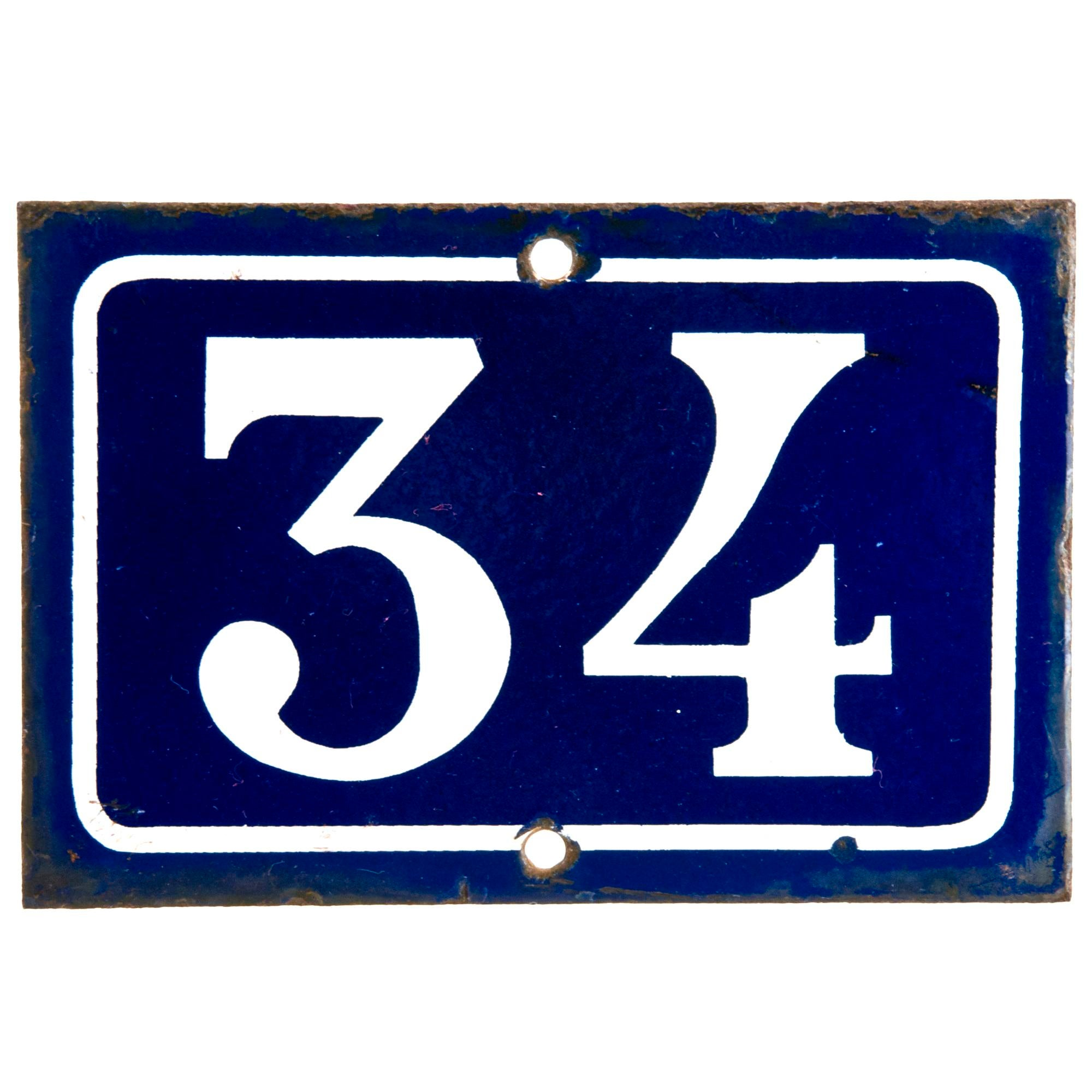 French Enamel House Number 34 Chairish