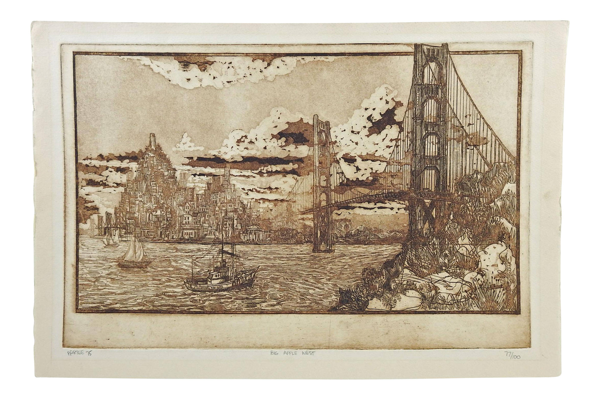 1975 partee san francisco golden gate bridge chairish for Kitchen cabinets lowes with golden gate wall art
