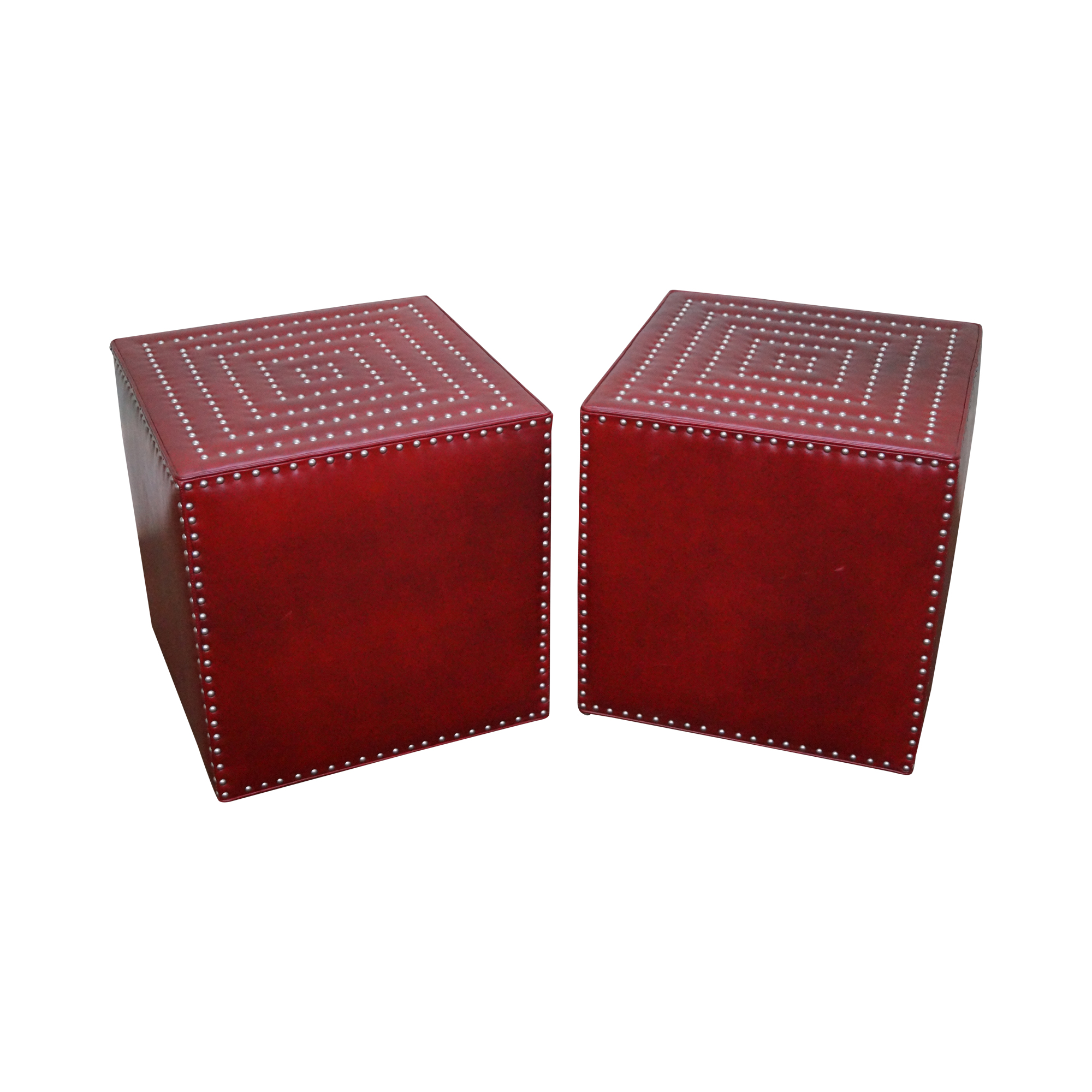 lee industries red leather cube ottomans  a pair  chairish - image of lee industries red leather cube ottomans  a pair