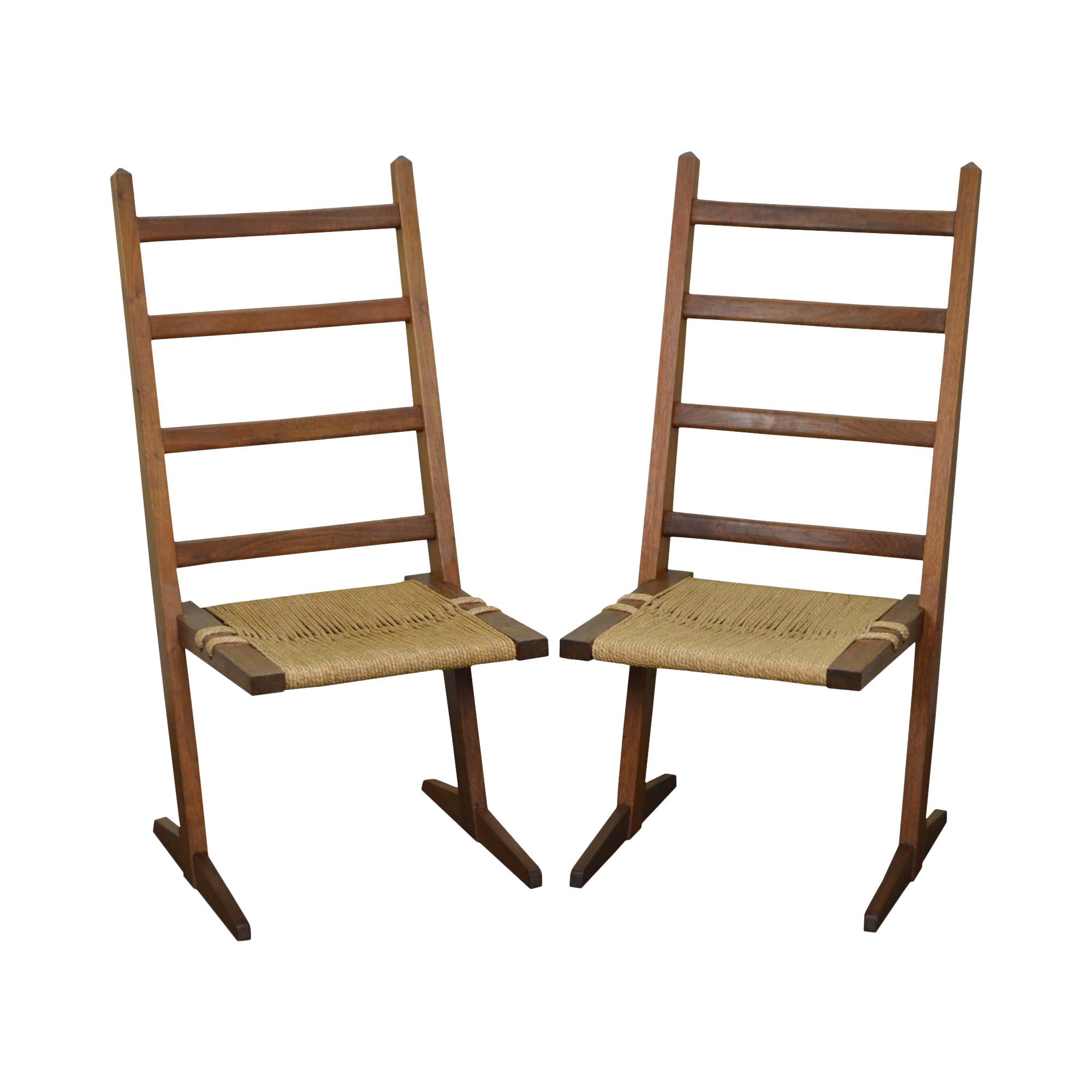 Studio Crafted Solid Walnut Pair of Rush Seat Side Chairs in