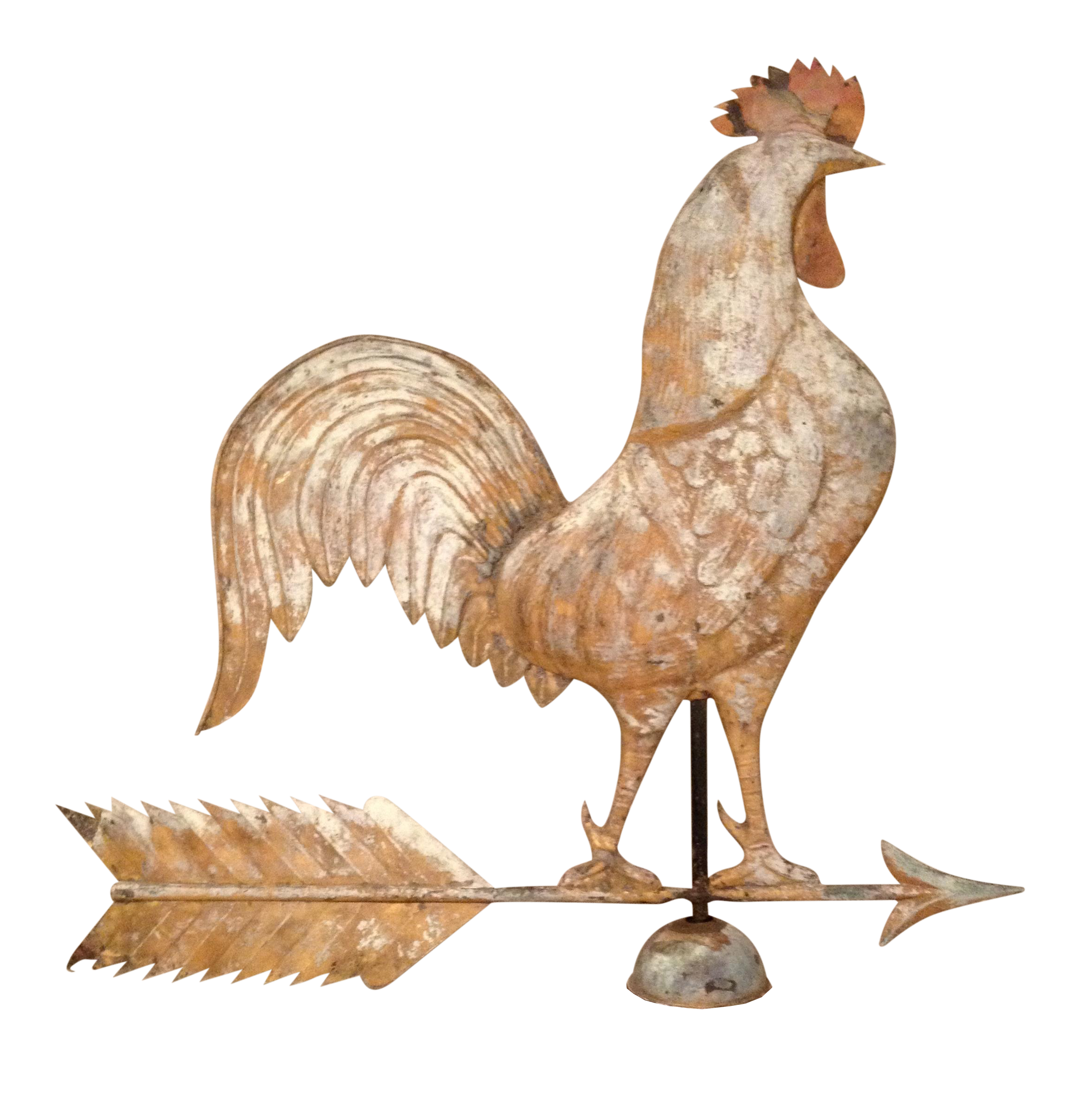 Vintage Weather Vane: Antique Copper Rooster Weathervane