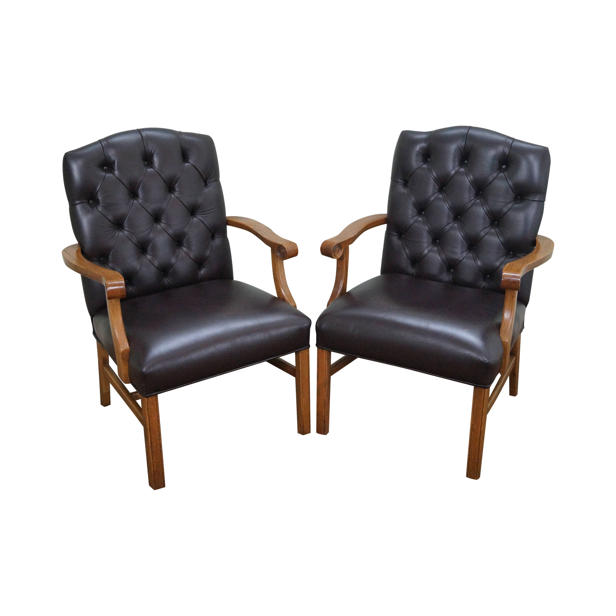 Chippendale Furniture Tufted Leather Chesterfield Chippendale Chairs Chairish